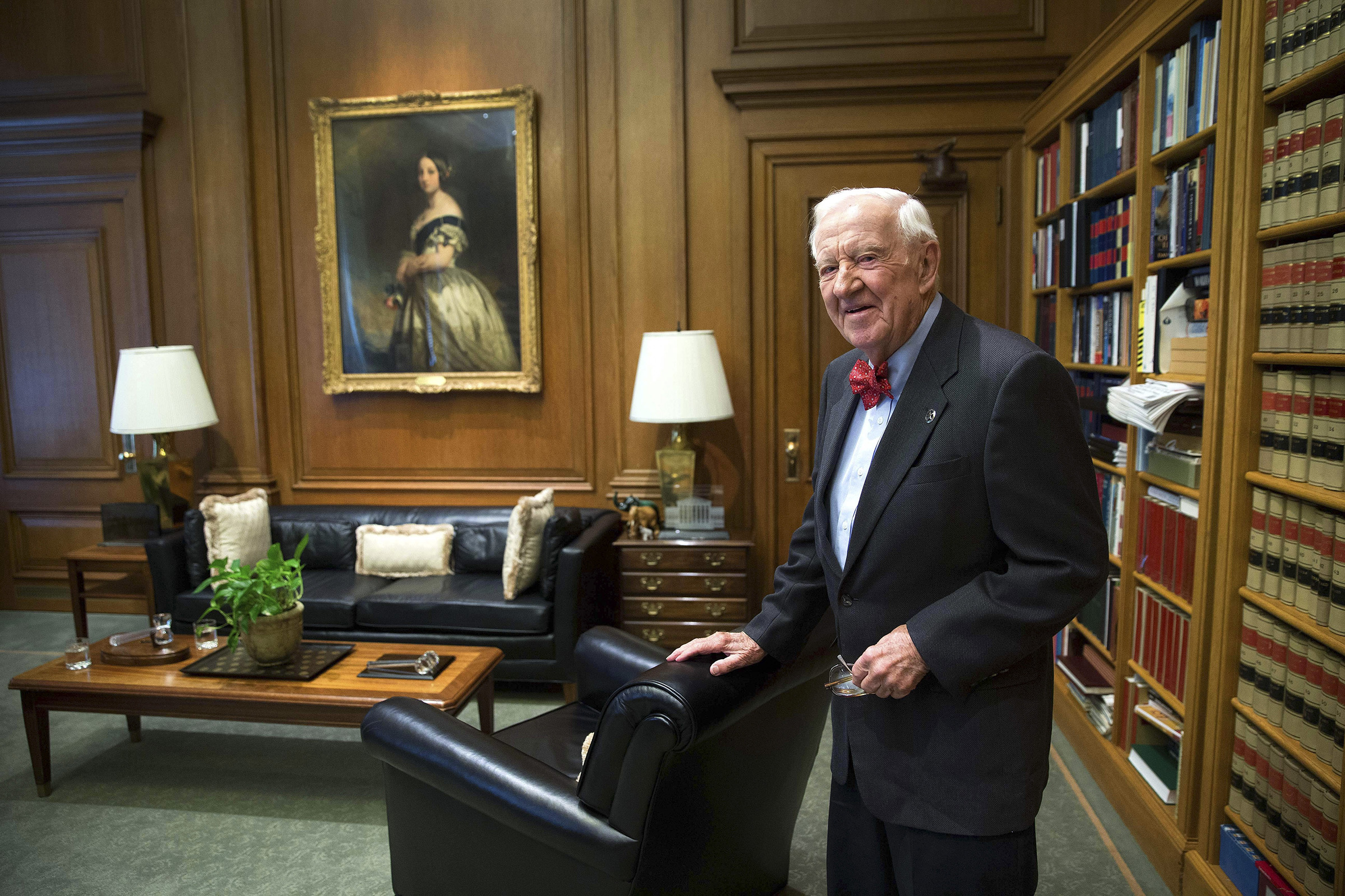 Justice John Paul Stevens in his chambers at the Supreme Court in Washington, on April 15, 2014.