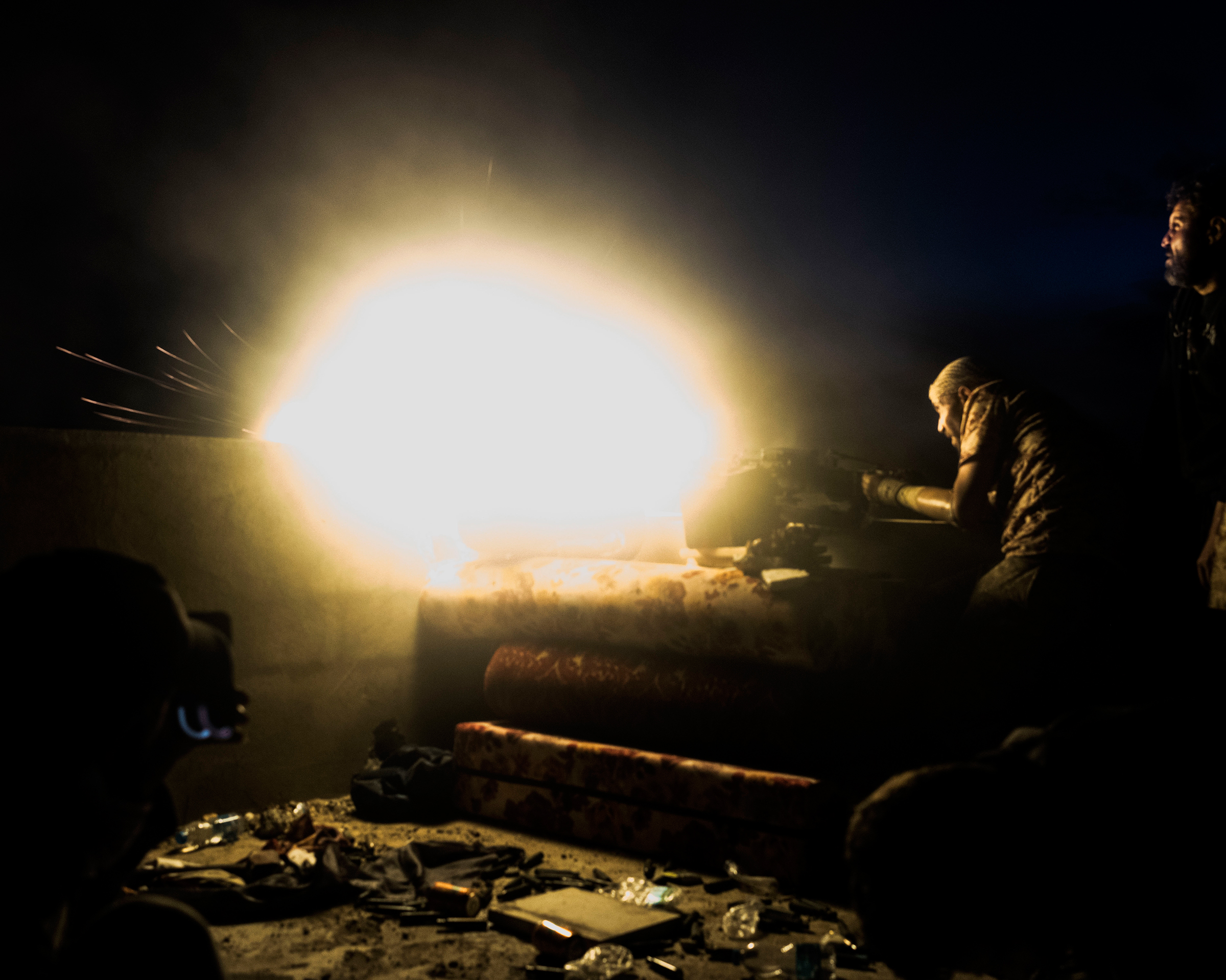 A night battle for control of a military base and its surroundings in April.
