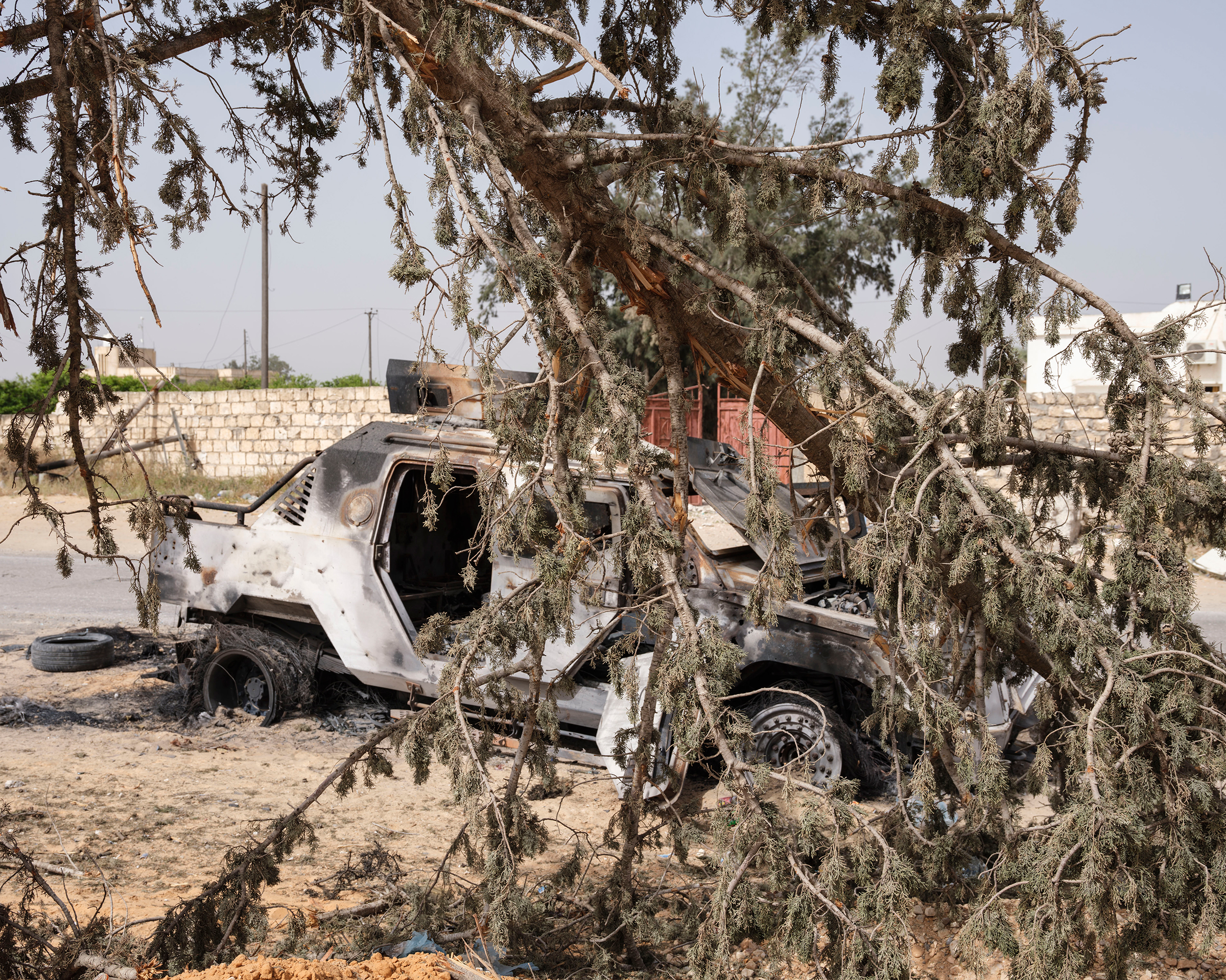 An armored vehicle of fighters loyal to Haftar was destroyed by GNA troops in the Ain Zara area in April.