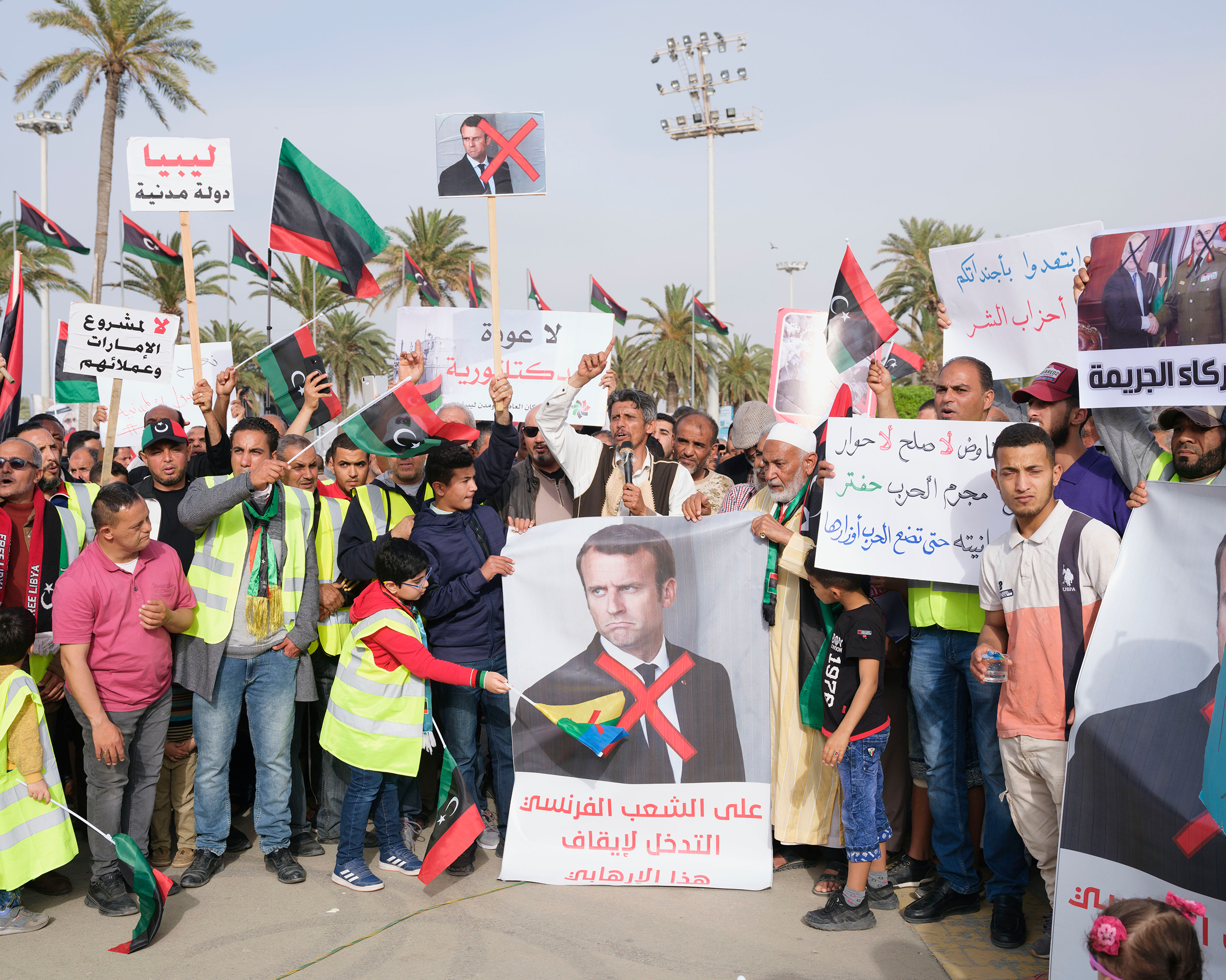 An anti-war demonstration, where protesters accused France of supporting Haftar, in Tripoli's Martyrs' Square in April.