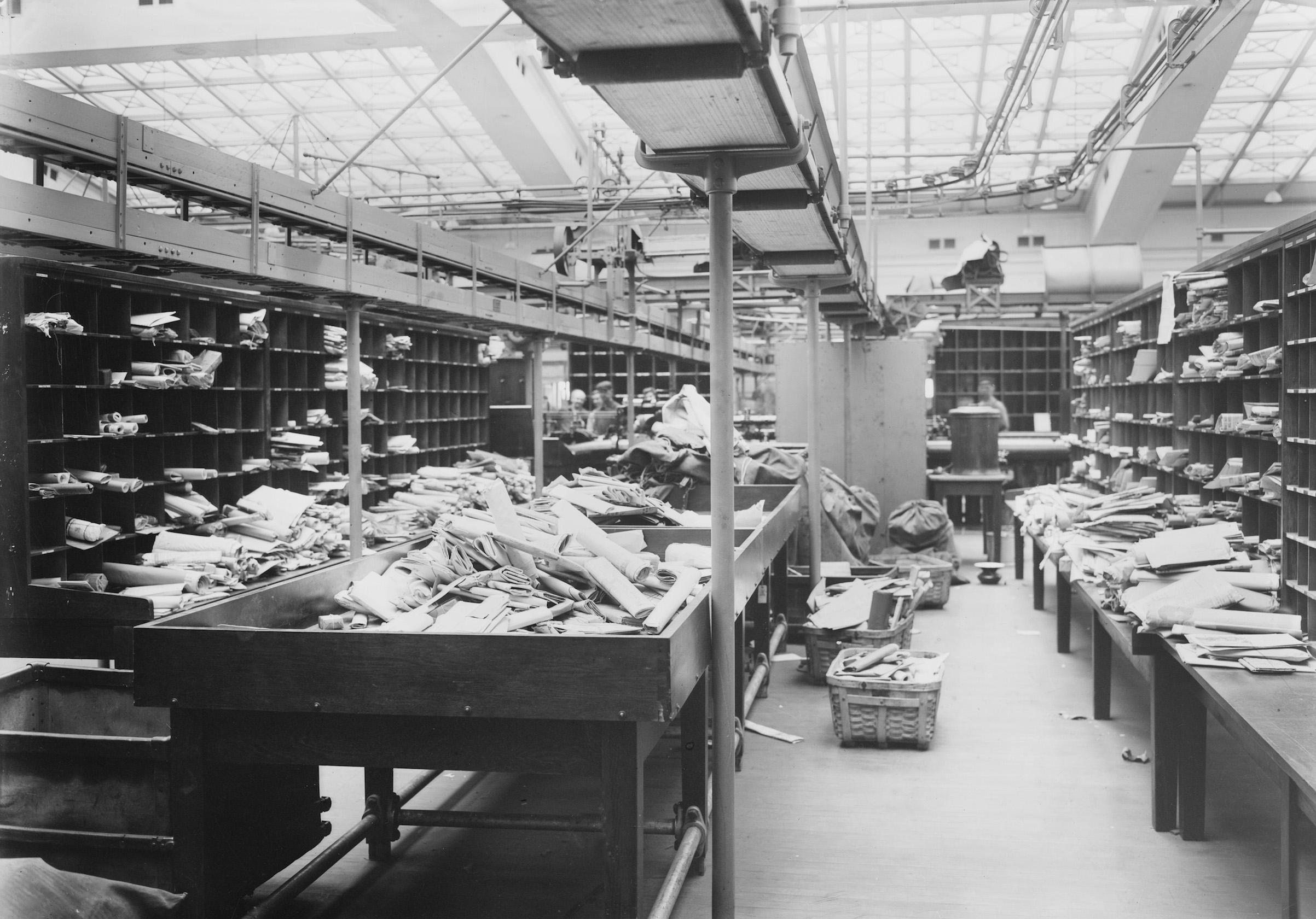Unsorted Mail at General Post Office, New York City, New York, USA, Bain News Service, 1914.