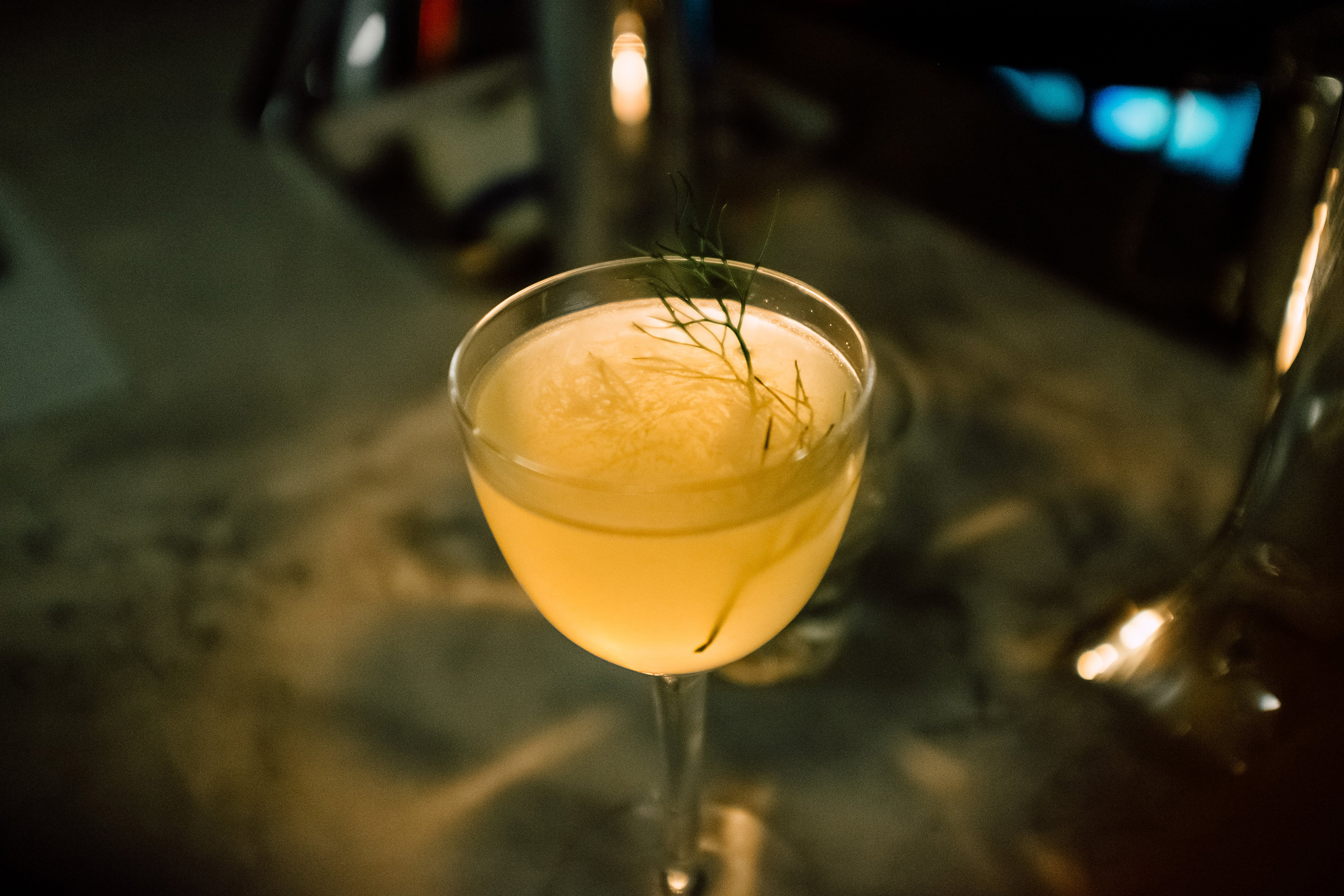 The  Smallbluff , a beverage containing Seedlip, is seen at Getaway, an alcohol-free bar in Brooklyn.