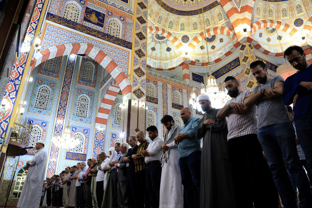 Muslims perform tarawih prayer on the eve of the holy month of Ramadan at Jalil Khayat Mosque in Erbil, Iraq on May 5, 2019.