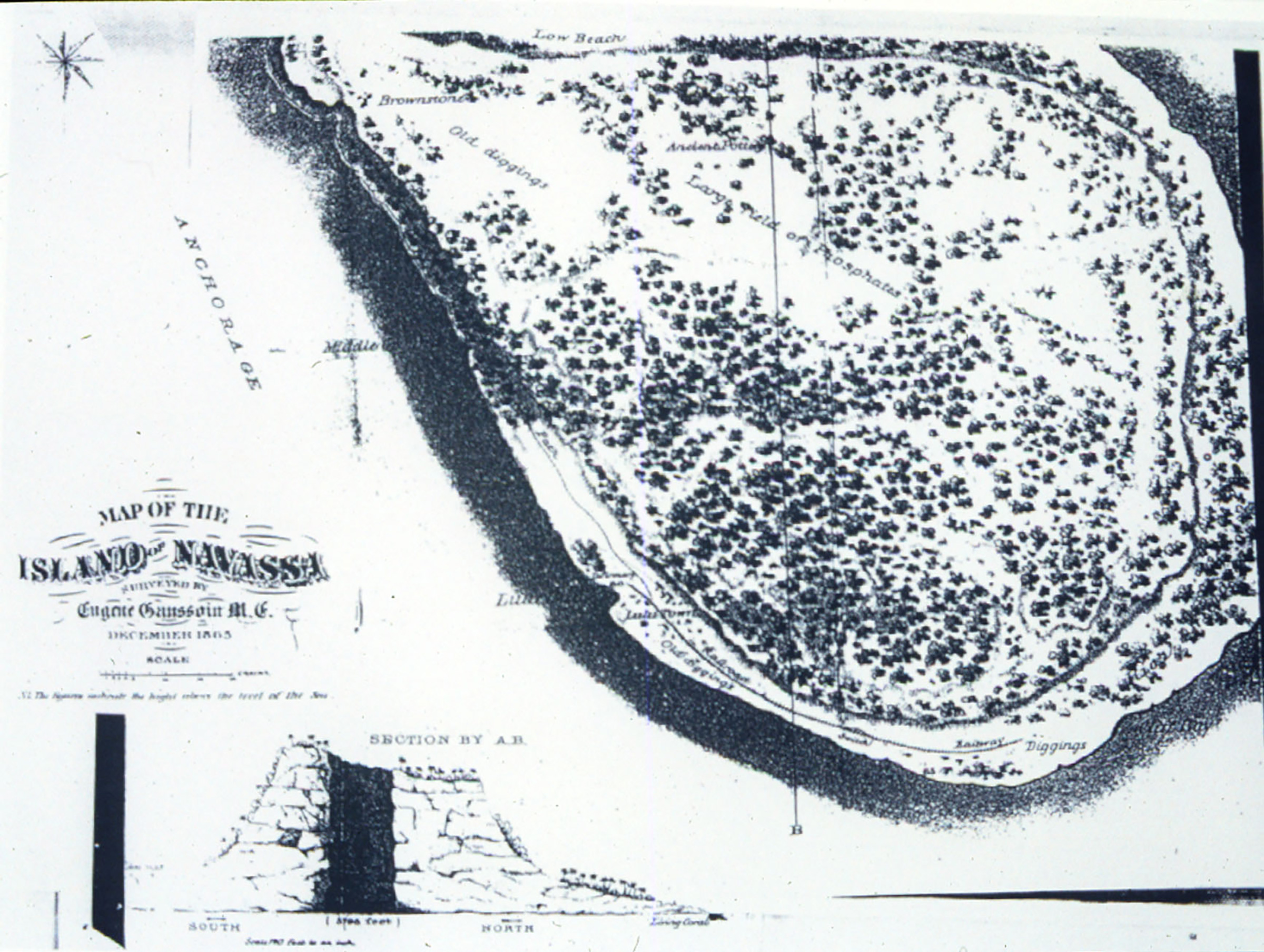 Historic map of the island of Navassa