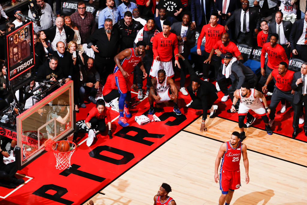 Kawhi Leonard #2 of the Toronto Raptors hits the game-winning shot against the Philadelphia 76ers during Game Seven of the Eastern Conference Semifinals of the 2019 NBA Playoffs on May 12, 2019 at the Scotiabank Arena in Toronto, Ontario, Canada.