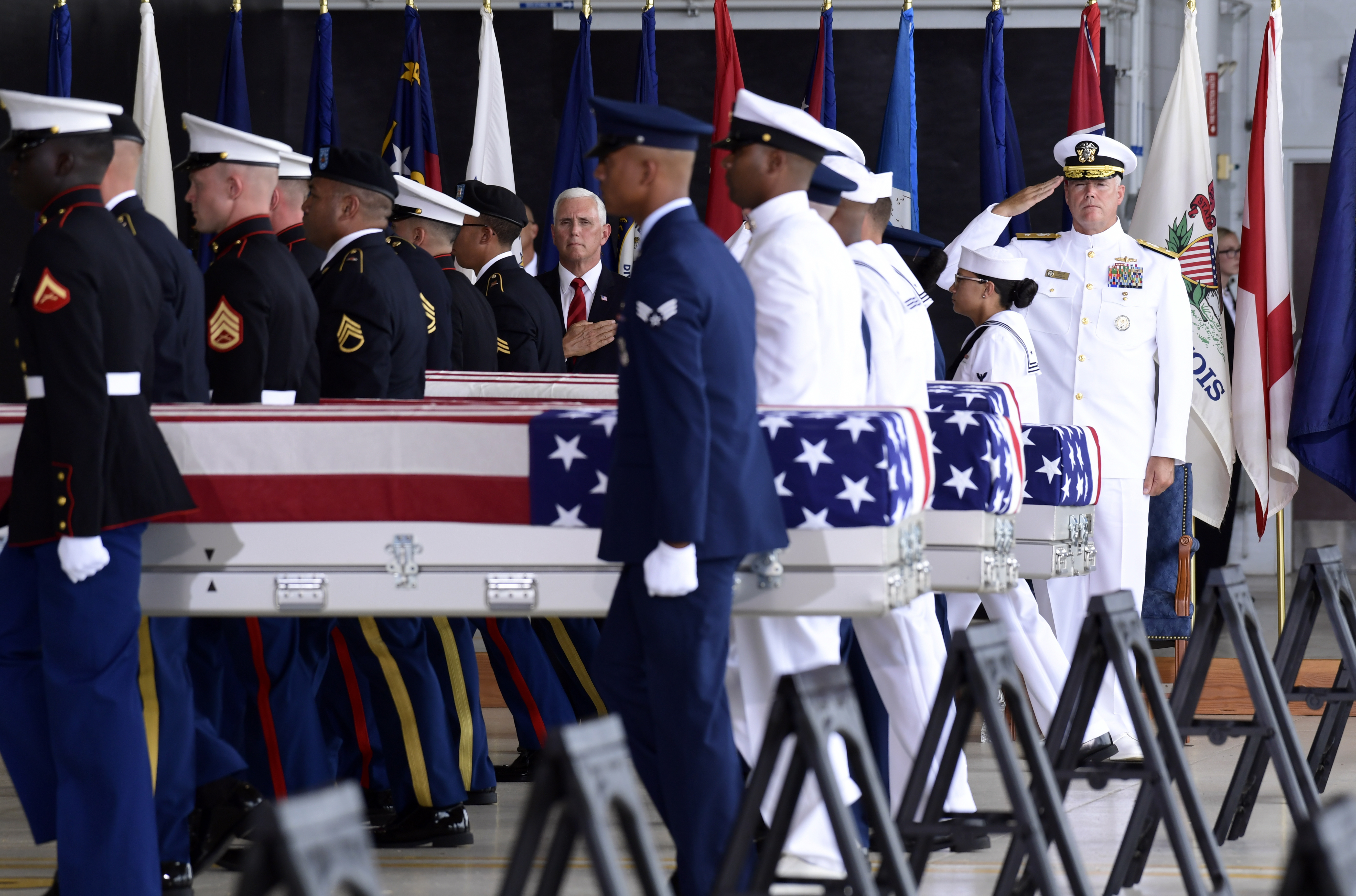 A ceremony marking arrival of remains believed to be of U.S. service members who fell in the Korean War at Joint Base Pearl Harbor-Hickam, Hawaii on Aug. 1, 2018.