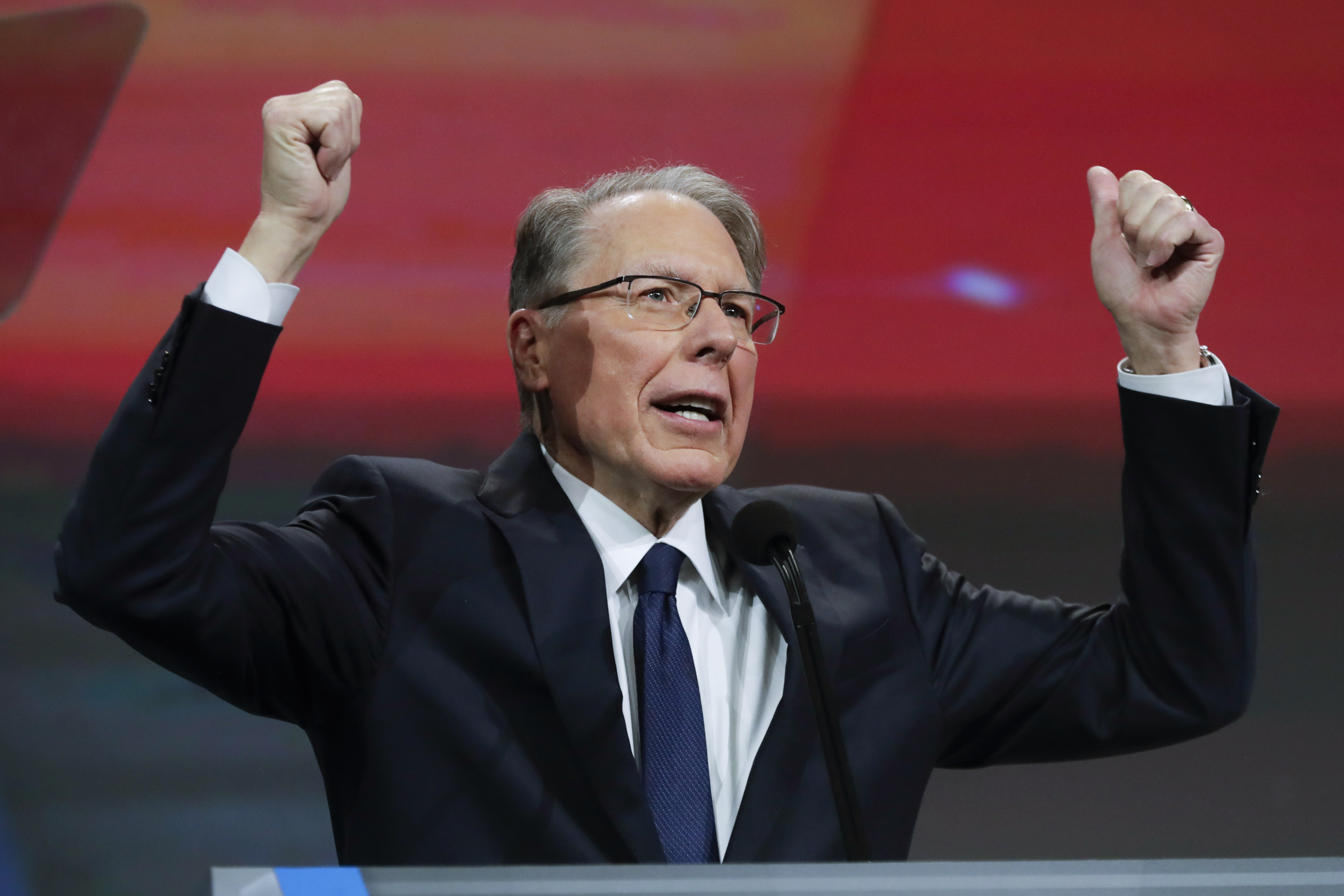 "National Rifle Association Executive Vice President and CEO Wayne LaPierre speaks at the NRA Annual Meeting of Members in Indianapolis, Saturday, April 27, 2019. The NRA sued its longtime public relations firm, accusing it of engineering a failed ""coup"" attempt to undermine the NRA's leadership."