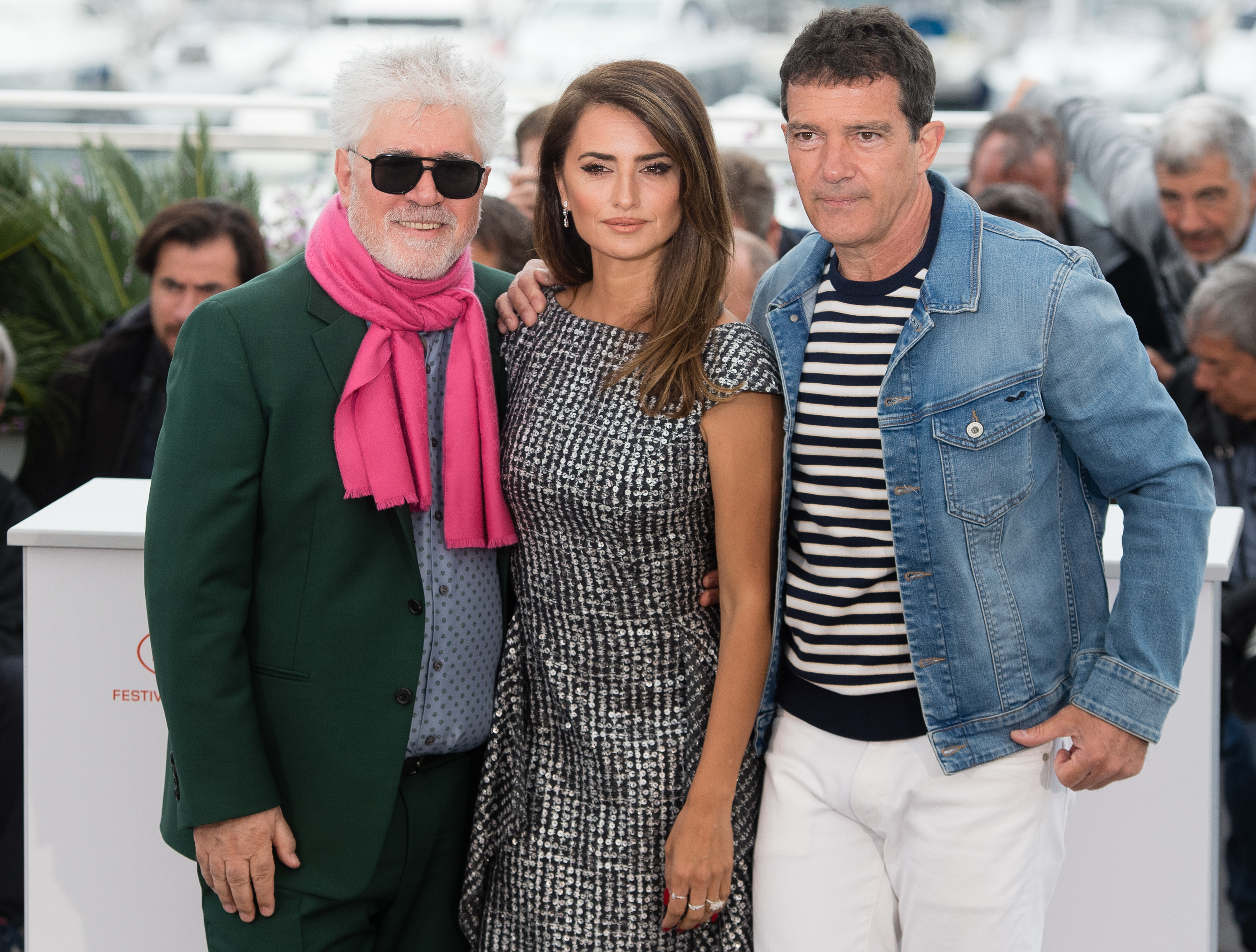 Pedro Almodovar, Penelope Cruz and Antonio Banderas during the 72nd annual Cannes Film Festival on May 18, 2019.