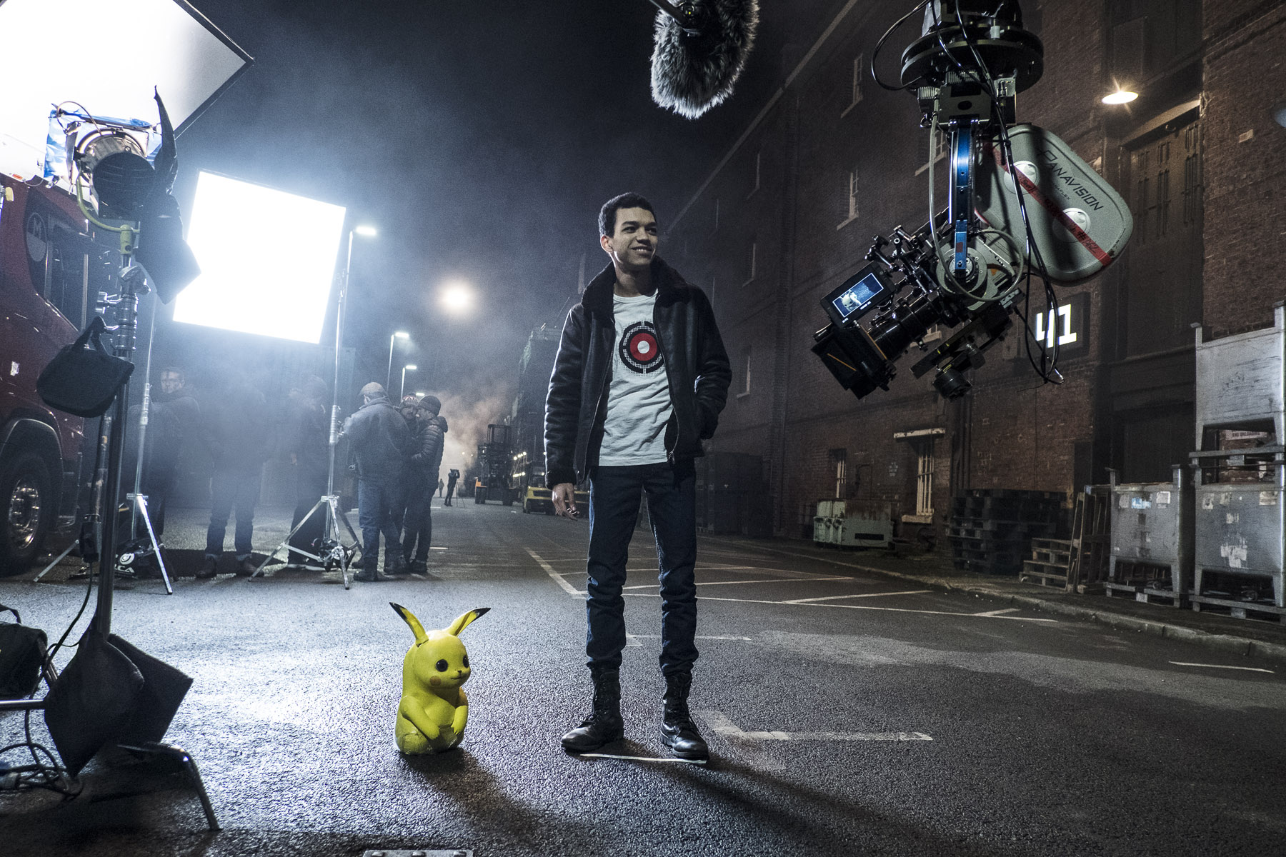 Justice Smith on the set of  Detective Pikachu.