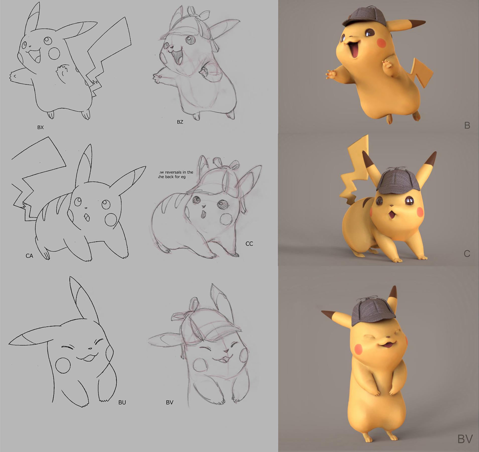Progression sketch art of Pikachu
