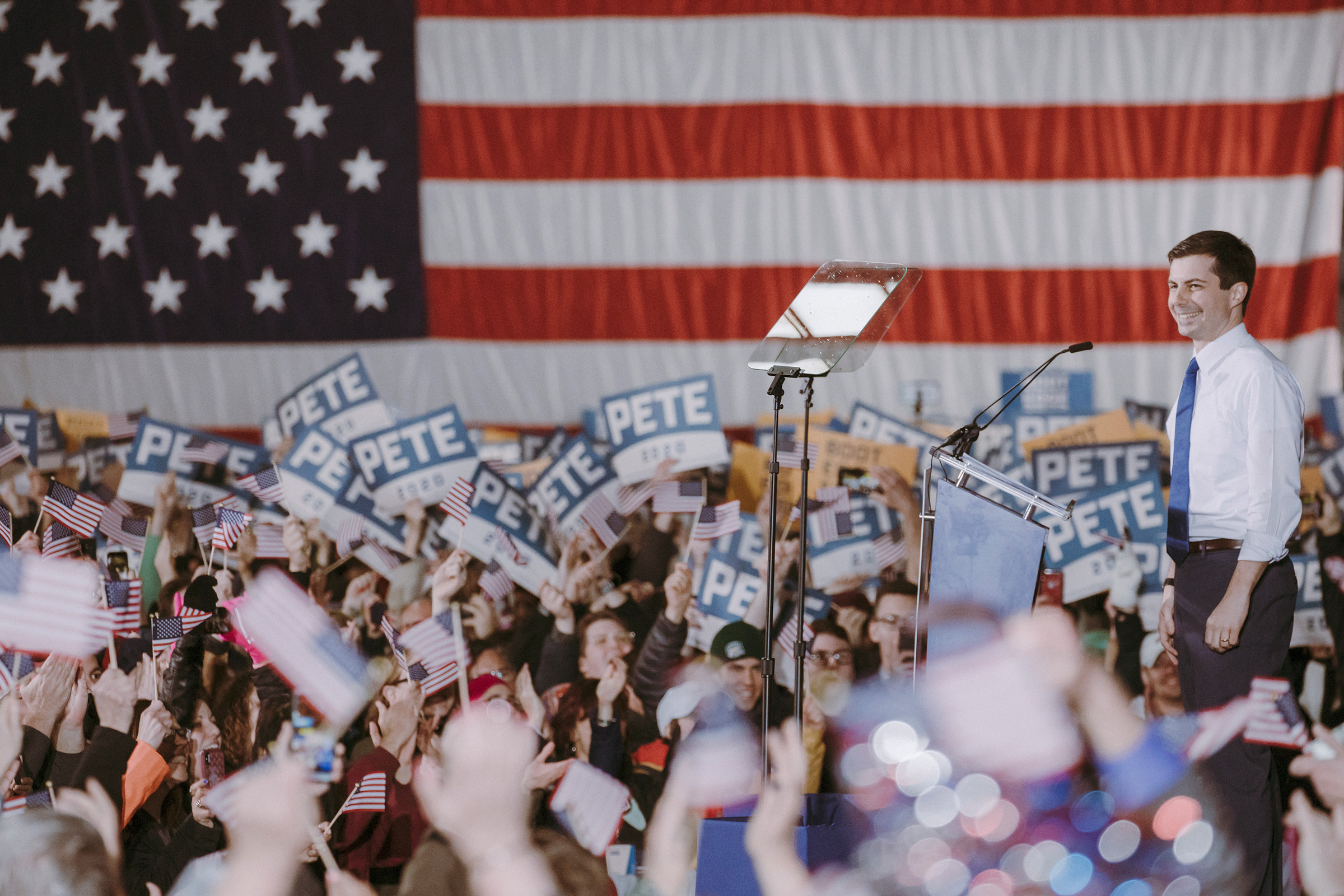 Mayor Pete Buttigieg on April 14 at his presidential campaign announcement in South Bend.
