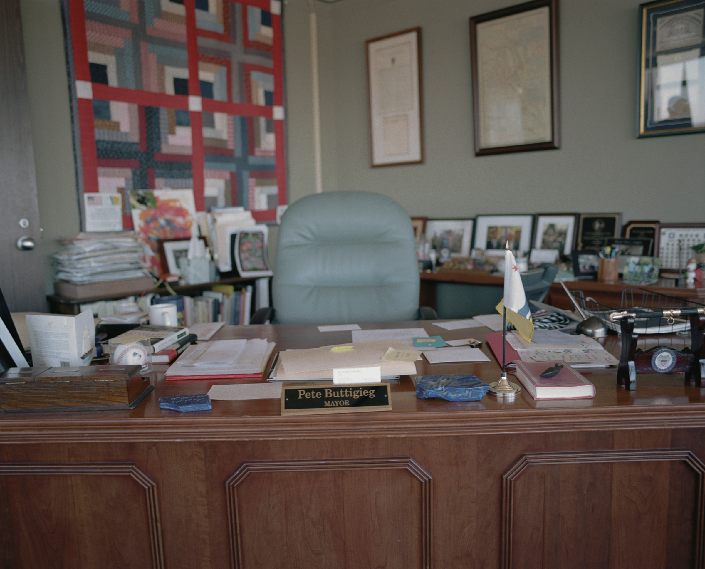 Mayor Pete Buttigieg's desk in South Bend.