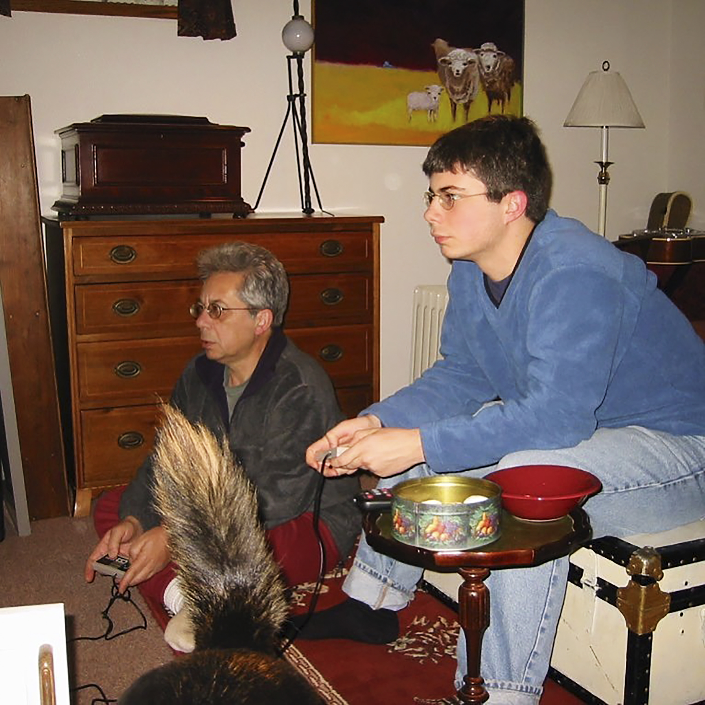 Buttigieg playing Nintendo with his late father Joseph Buttigieg at home in South Bend, circa 2000.