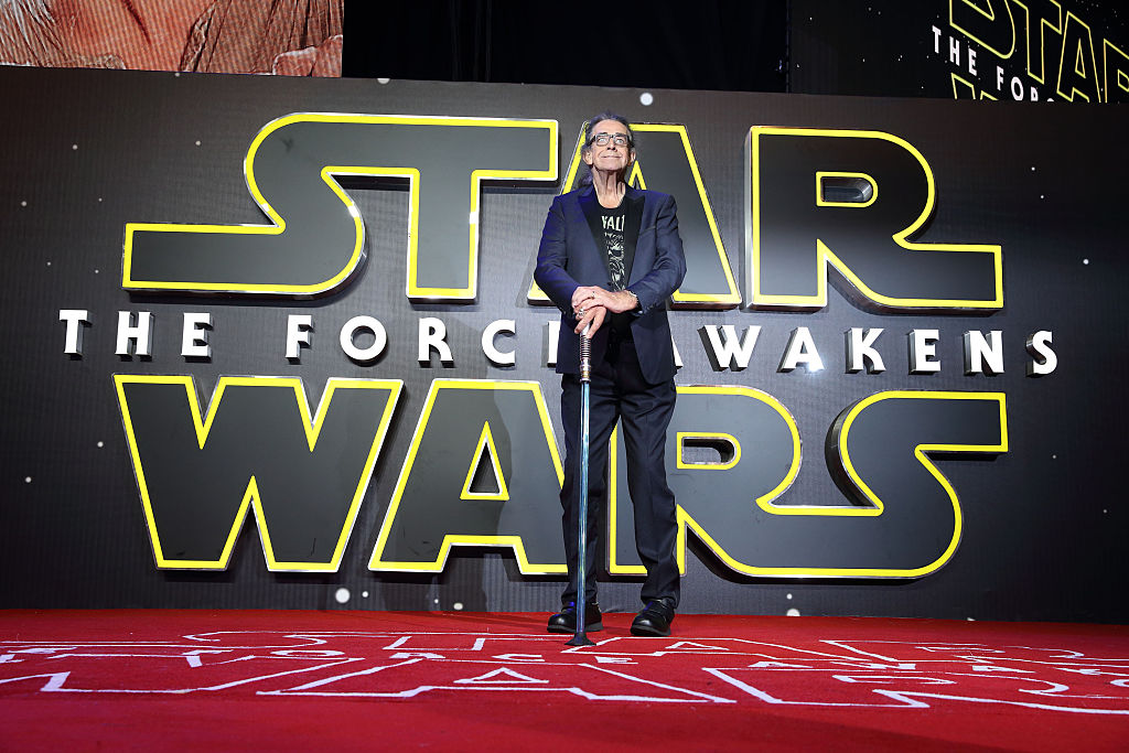 Peter Mayhew attends the European Premiere of  Star Wars: The Force Awakens  at Leicester Square on December 16, 2015 in London, England.