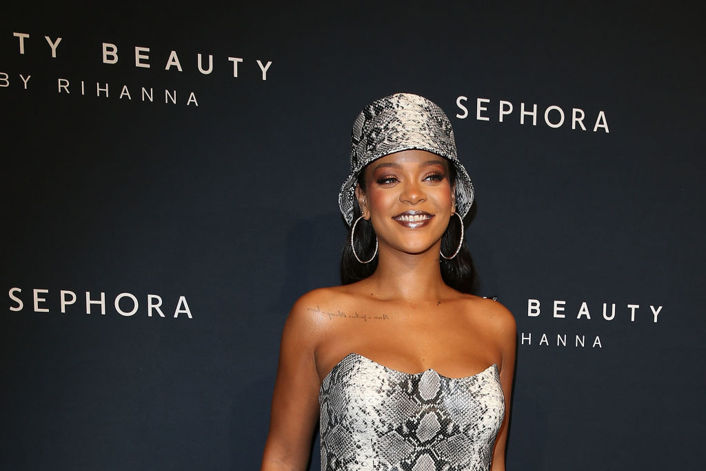 Rihanna attends the Fenty Beauty by Rihanna Anniversary Event at Overseas Passenger Terminal on October 3, 2018 in Sydney, Australia.