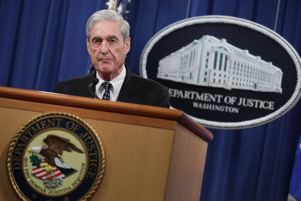 Special Counsel Robert Mueller makes a statement about the Russia investigation on May 29, 2019 at the Justice Department in Washington, DC. (Chip Somodevilla—Getty Images)