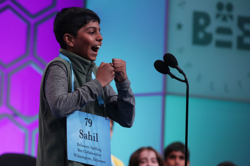 Sahil Langote of New Castle, Delaware, reacts after he misspelled the word 'palatschinken' during round eight of the Scripps National Spelling Bee at the Gaylord National Resort & Convention Center May 30, 2019 in National Harbor, Maryland.