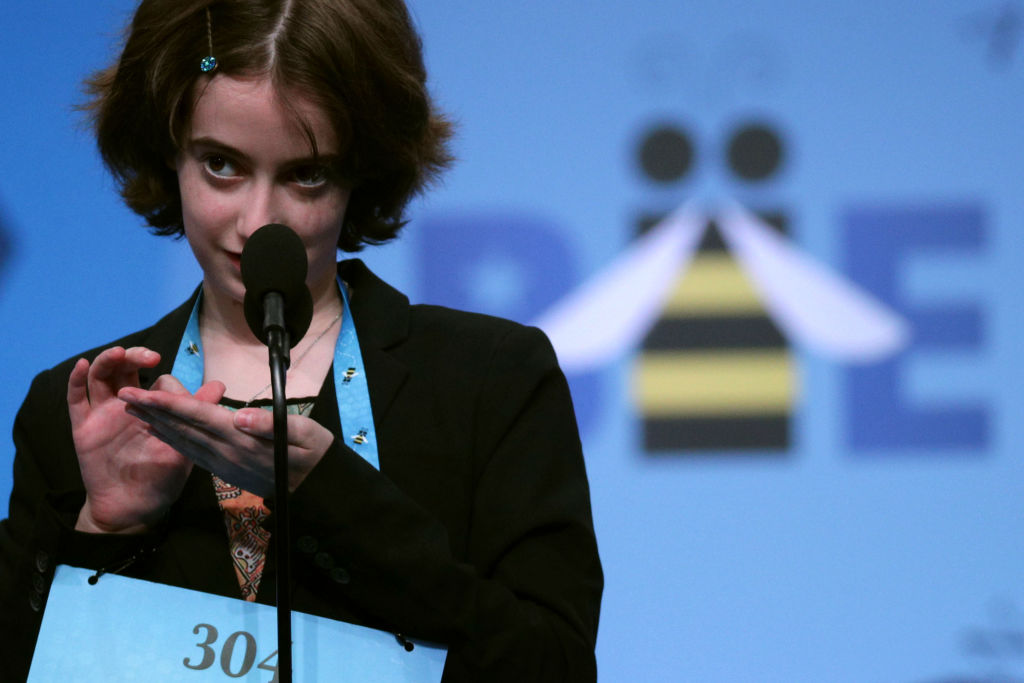 Colette Giezentanner of Saint Louis, Missouri, tries to spell the word 'oxyrhynch' during round five of the Scripps National Spelling Bee at the Gaylord National Resort & Convention Center May 30, 2019 in National Harbor, Maryland.