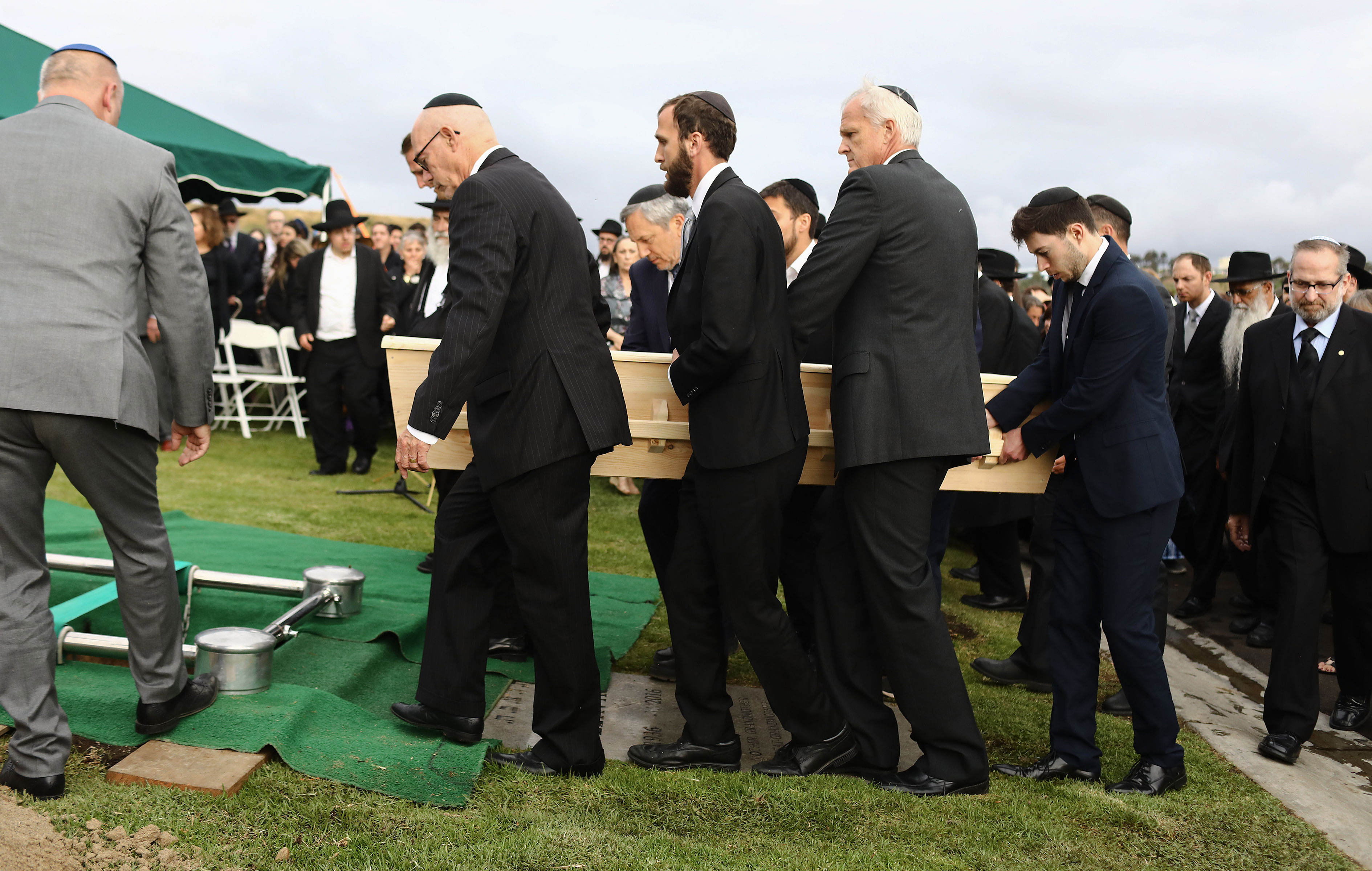 Pallbearers carry the casket of the shooting victim from the Chabad of Poway synagogue