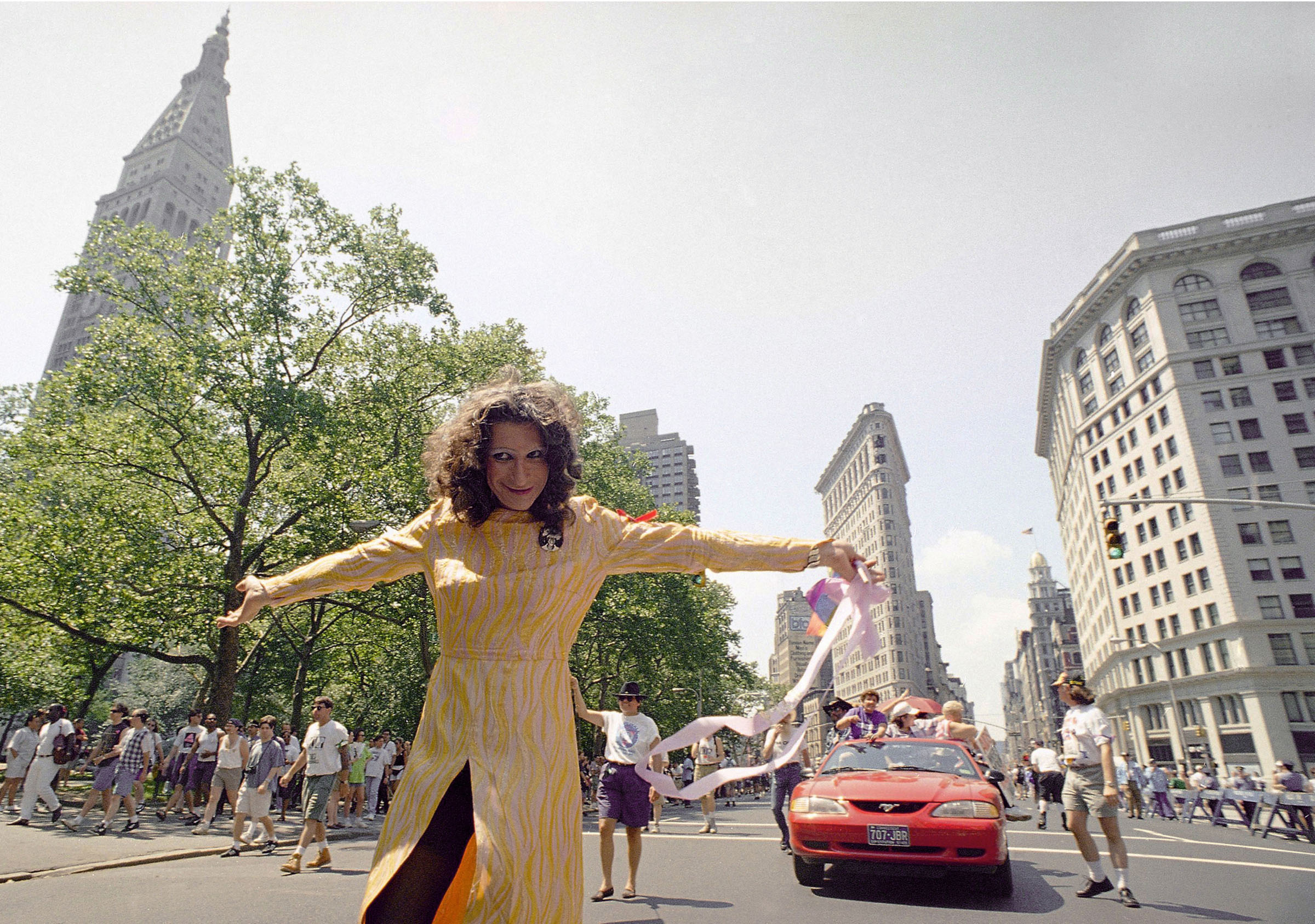 LGBT pioneer Sylvia Rivera leads an ACT-UP march past New York's Union Square Park on June 26, 1994.
