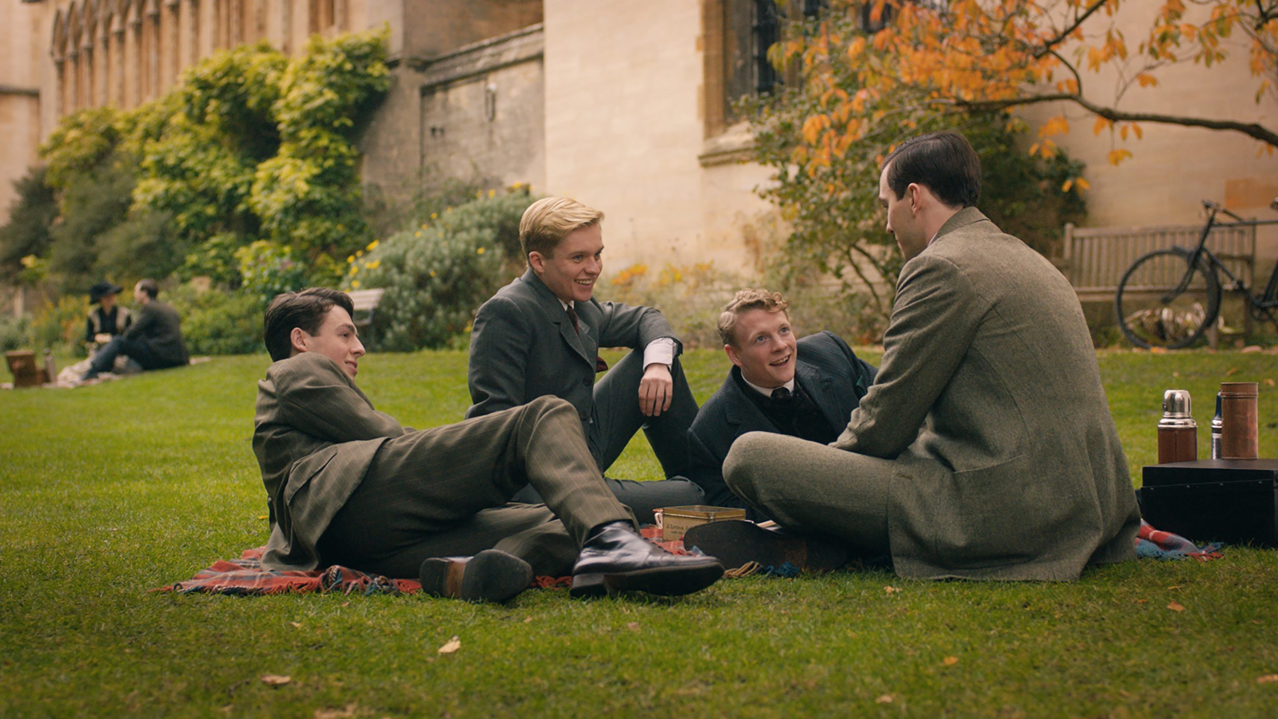 (From L-R): Anthony Boyle, Tom Glynn-Carney, Patrick Gibson and Nicholas Hoult in the film 'Tolkien.' © 2019 Twentieth Century Fox Film Corporation All Rights Reserved