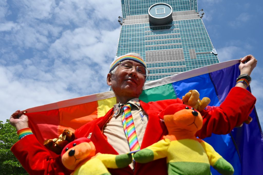Taiwan gay activist Chi Chia-wei during a wedding ceremony in Shinyi district in Taipei on May 24, 2019.
