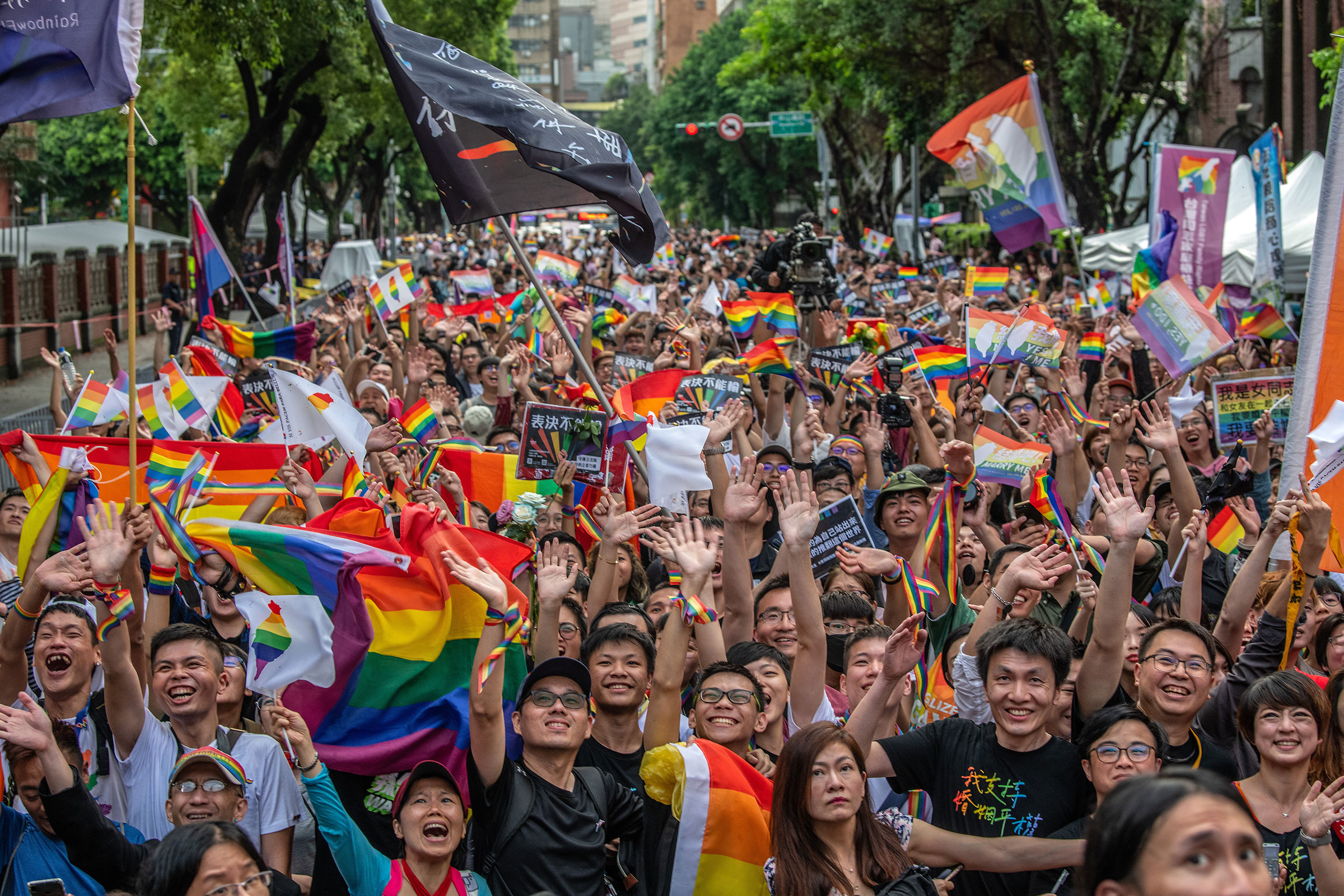 People celebrate after Taiwan's parliament voted to legalize same-sex marriage on May 17, 2019 in Taipei, Taiwan.