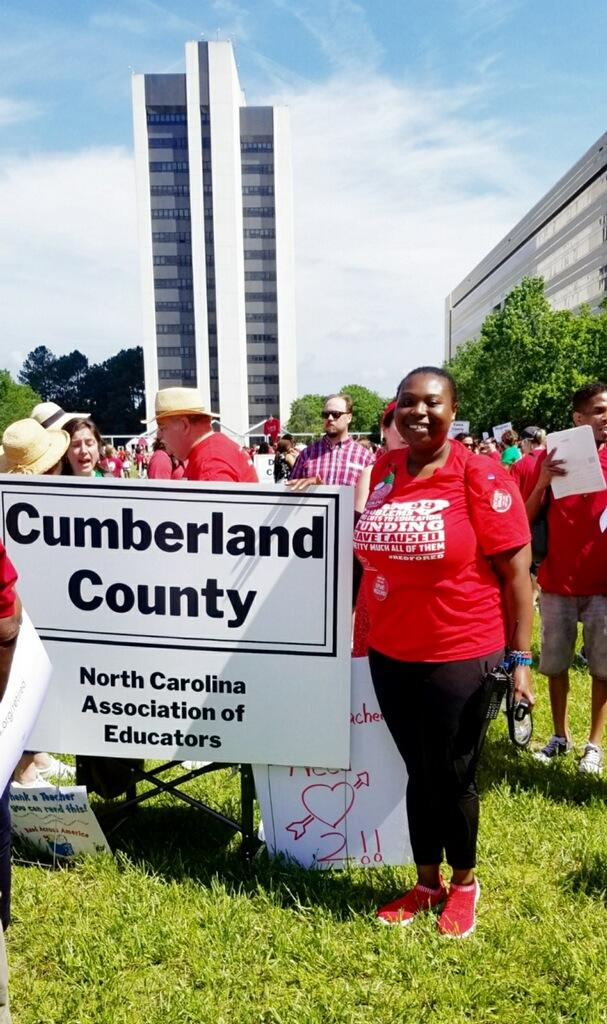 Tamika Walker Kelly at the protest in Raleigh on May 1, 2019.