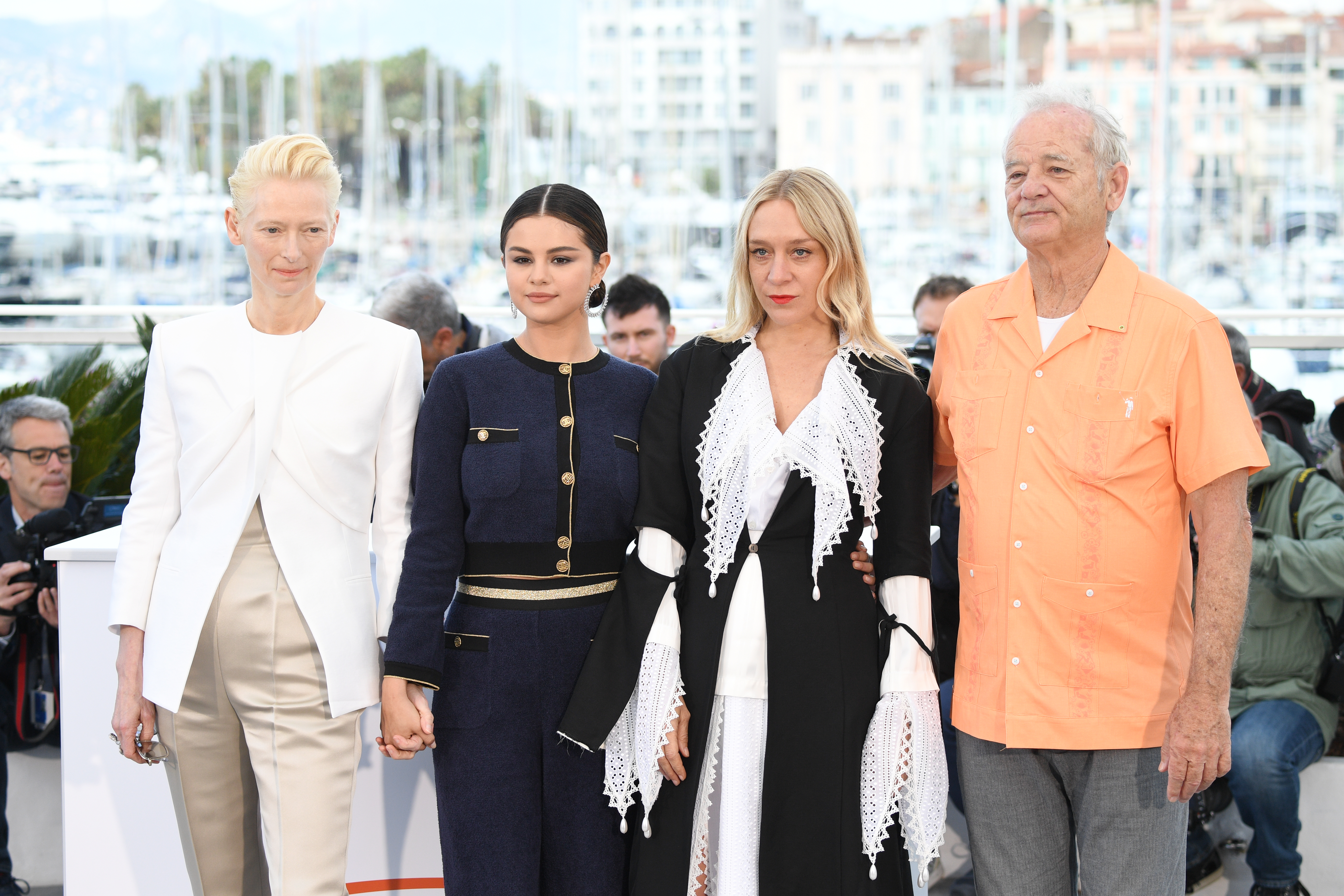 Tilda Swinton, Selena Gomez, Chloe Sevigny and Bill Murray at the 72nd annual Cannes Film Festival on May 15, 2019 in Cannes, France.