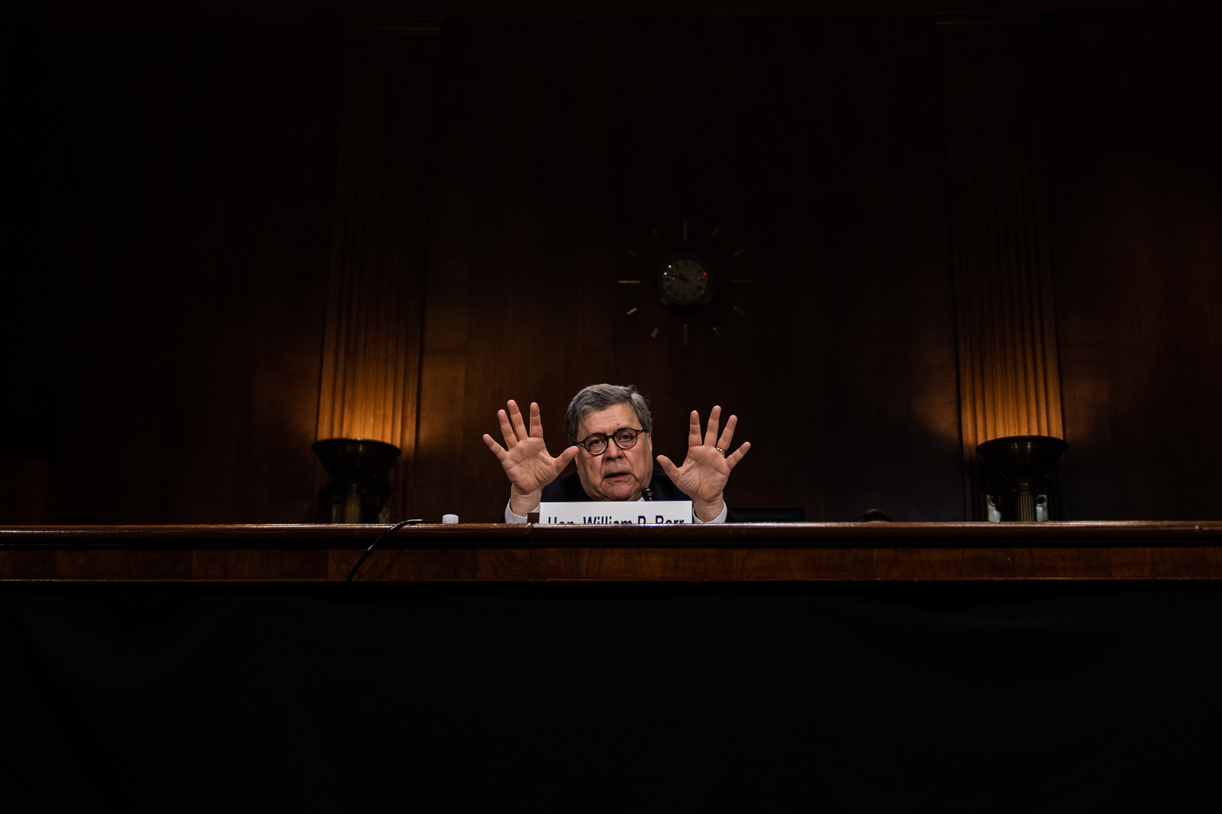 Attorney General William Barr testifies before the Senate Judiciary Committee on Capitol Hill on May 1, 2019, in Washington, D.C.