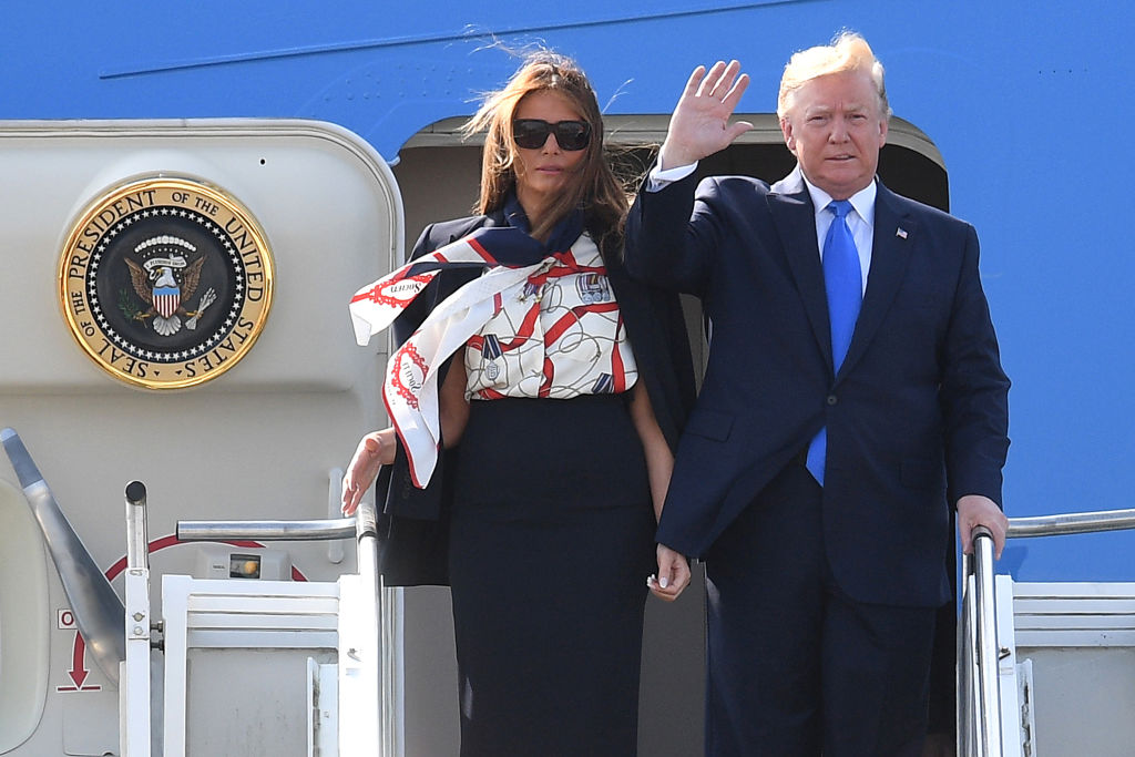 U.S. President Donald Trump and First Lady Melania Trump arrive at Stansted Airport on June 3, 2019 in London, England. President Trump's three-day state visit will include lunch with the Queen, and a State Banquet at Buckingham Palace, as well as business meetings with the Prime Minister and the Duke of York, before travelling to Portsmouth to mark the 75th anniversary of the D-Day landings.