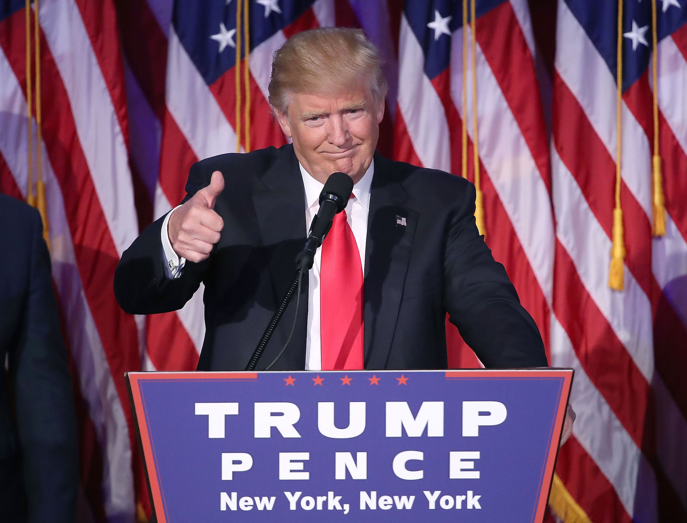 President-elect Donald Trump celebrates on election night on Nov. 8, 2016 in New York City.