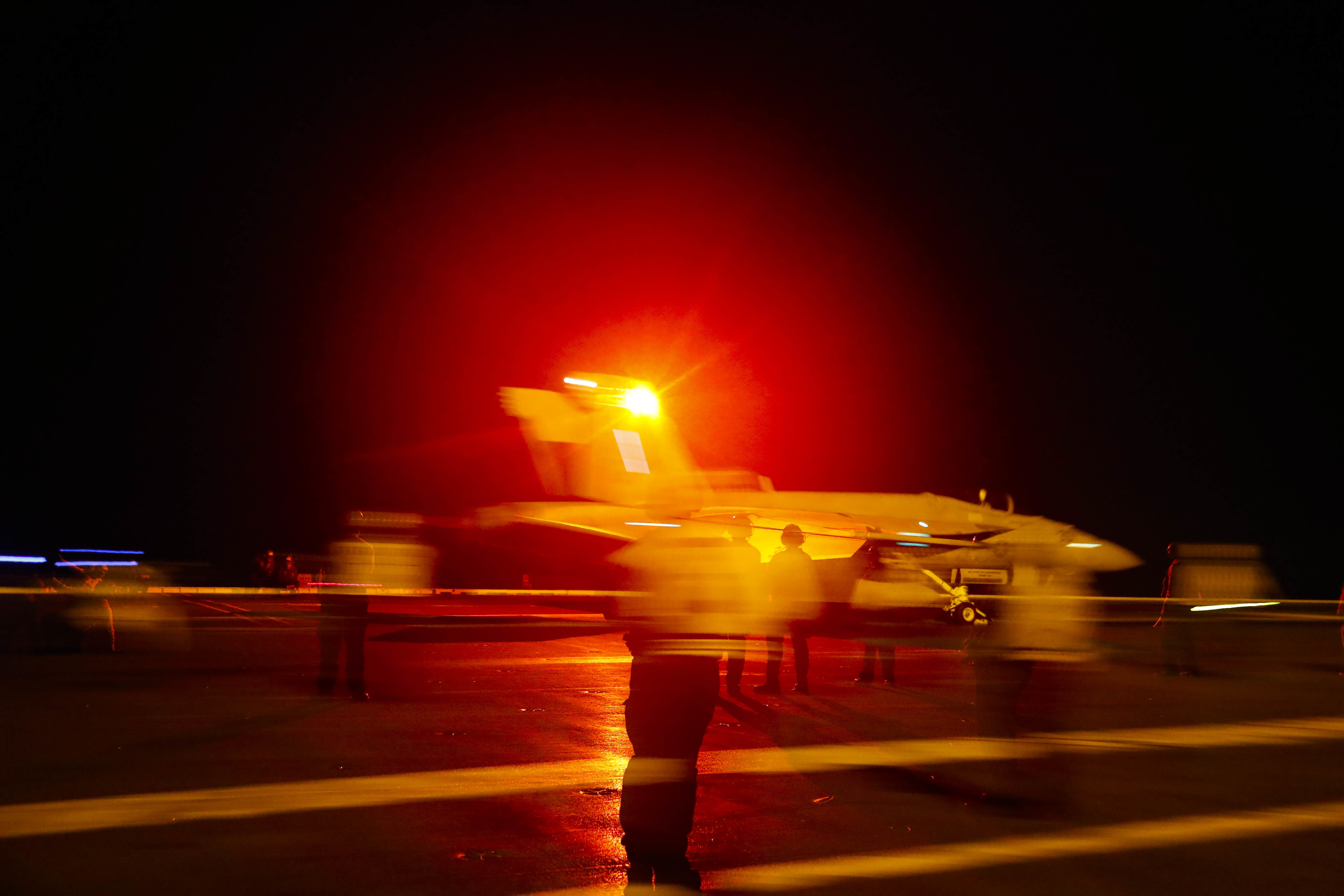 An F/A-18E Super Hornet aircraft launches from the flight deck the Nimitz-class aircraft carrier USS Abraham Lincoln in the Persian Gulf on May 10, 2019. The  aircraft carrier strike group is being deployed to the Persian Gulf to counter an alleged but still-unspecified threat from Iran.