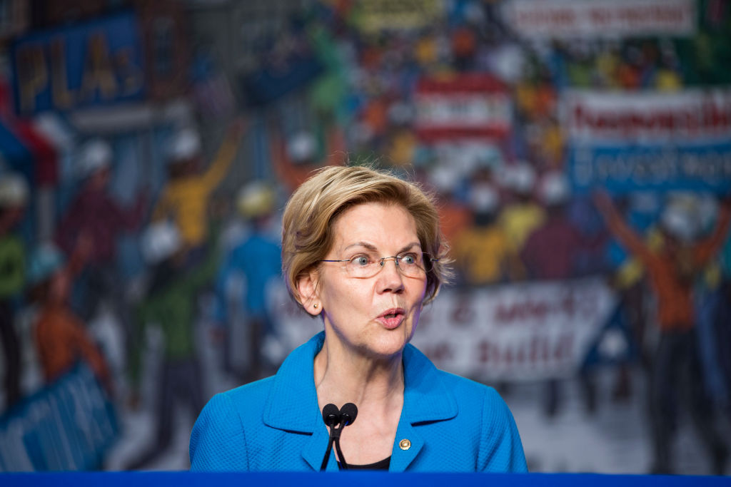 Sen. Elizabeth Warren (D-MA) speaks during the North American Building Trades Unions Conference at the Washington Hilton April 10, 2019 in Washington, DC. (Zach Gibson—Getty Images)