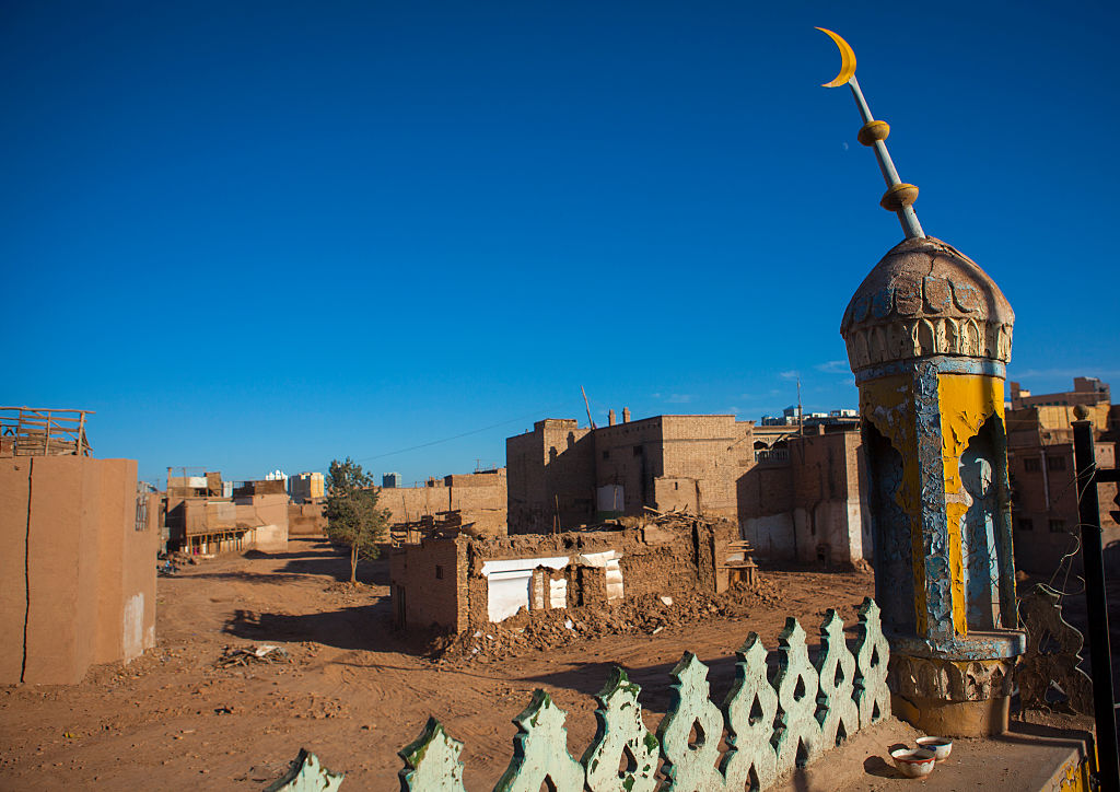Mosque in the demolished old town of Kashgar, Xinjiang Uyghur Autonomous Region, China on Sept. 23, 2012.