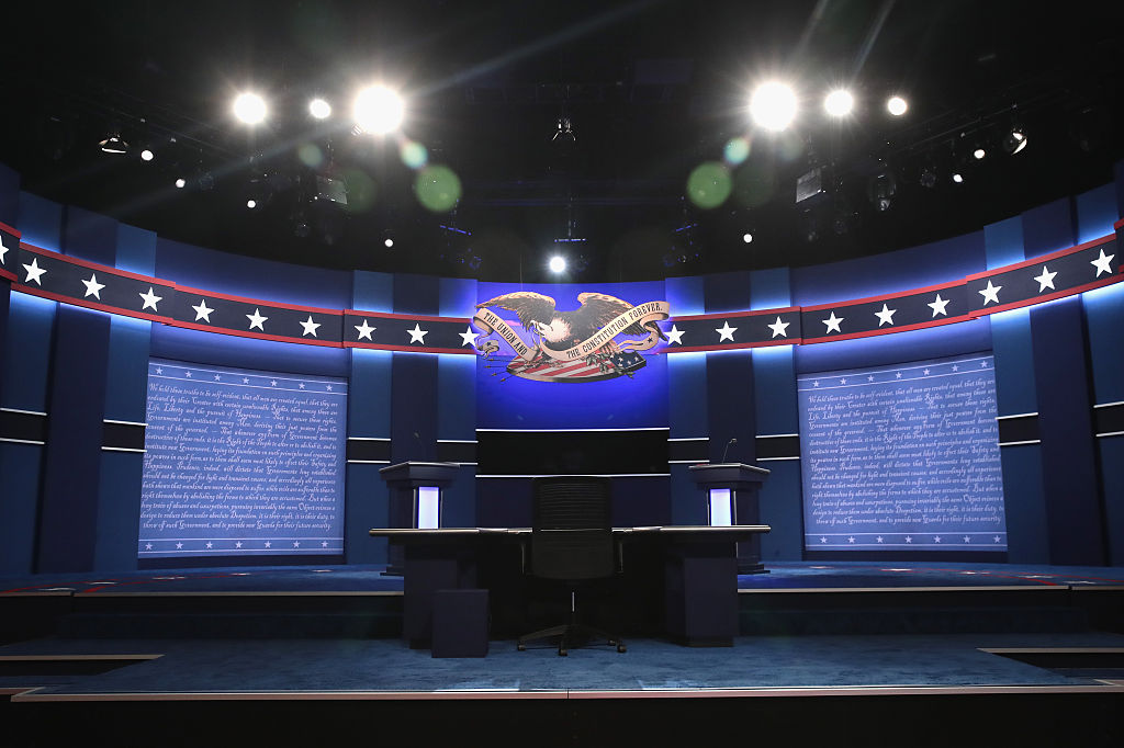 The stage is set ahead of the Presidential Debate between Democratic presidential nominee Hillary Clinton and Republican presidential nominee Donald Trump at Hofstra University on September 26, 2016 in Hempstead, New York.