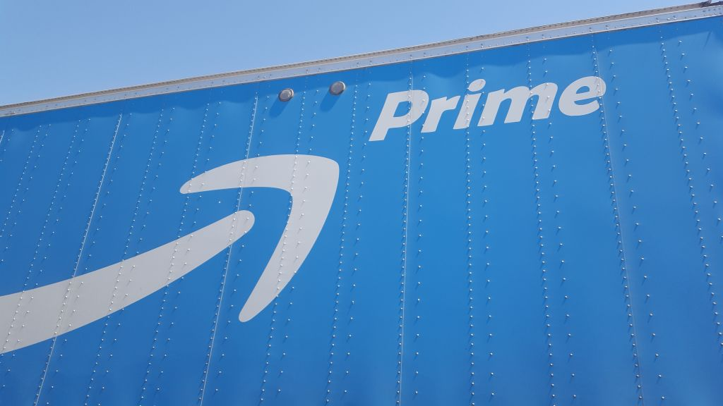 Logo for the Amazon Prime service on the side of a tractor trailer semi truck, Walnut Creek, California, July 31, 2017.