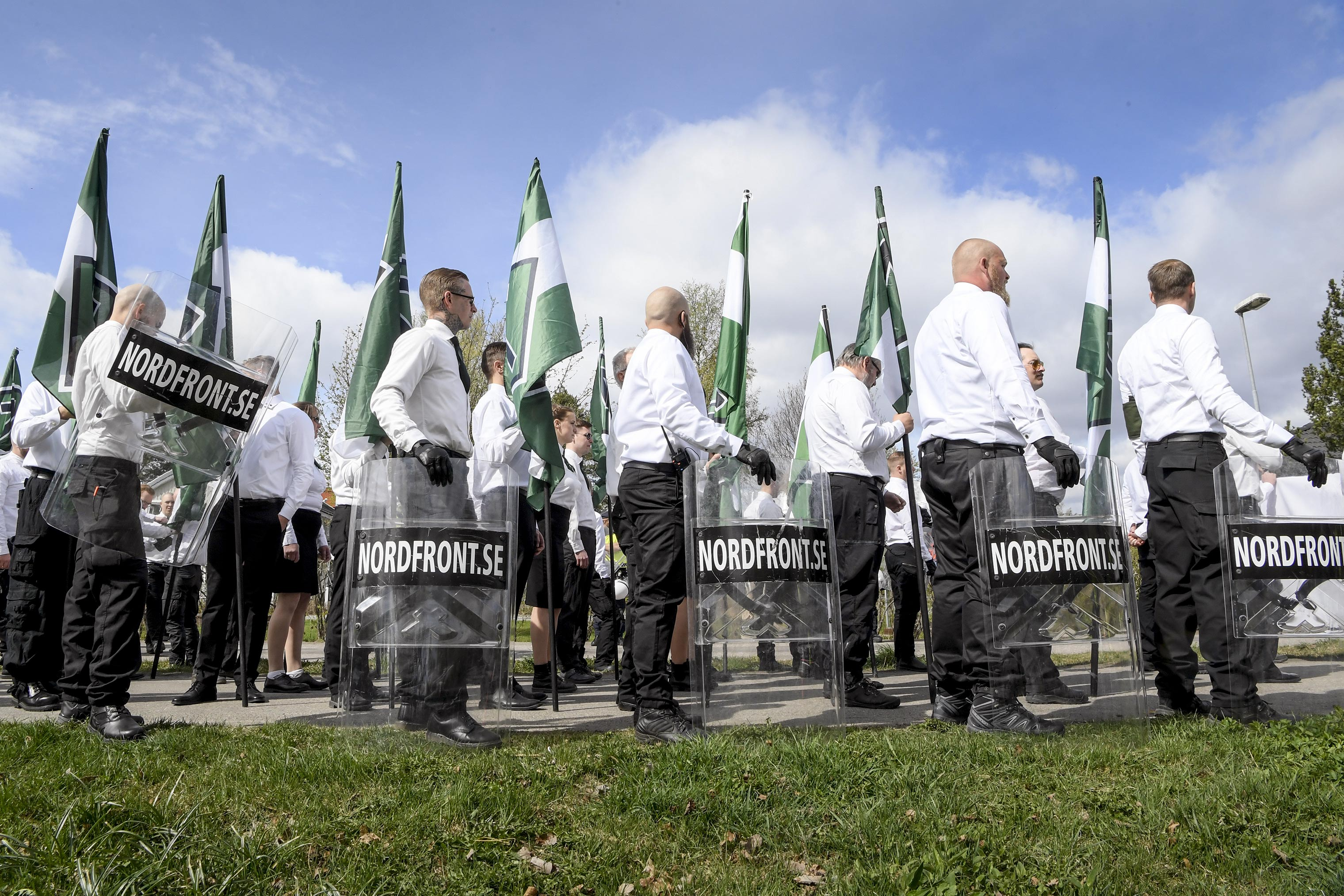 Members of the Nordic Resistance Movement gather for a march in Ludvika, Sweden, on May 1.
