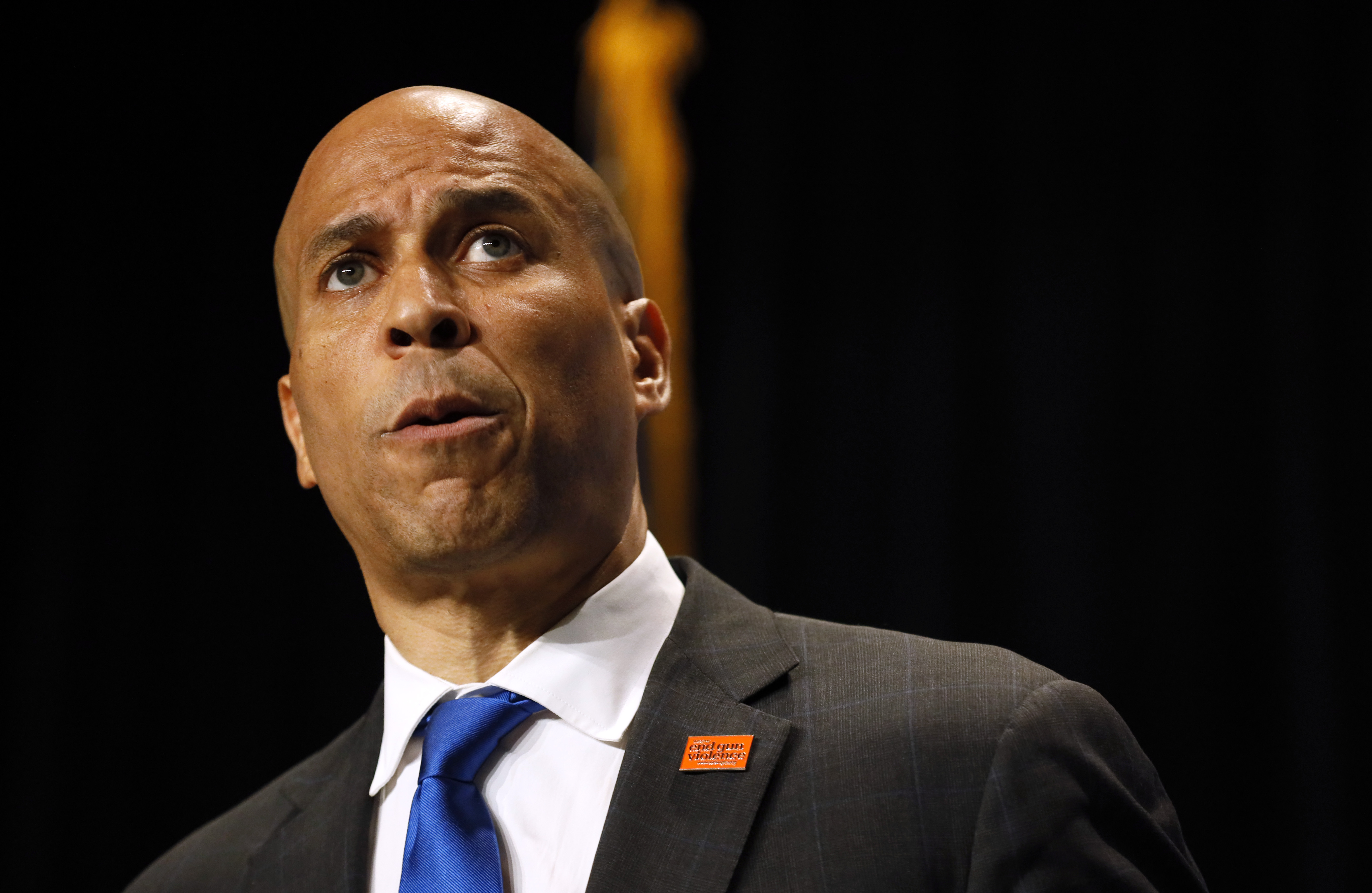Democratic presidential candidate Cory Booker speaks during the Iowa Democratic Party's Hall of Fame Celebration, Sunday, June 9, 2019, in Cedar Rapids, Iowa.