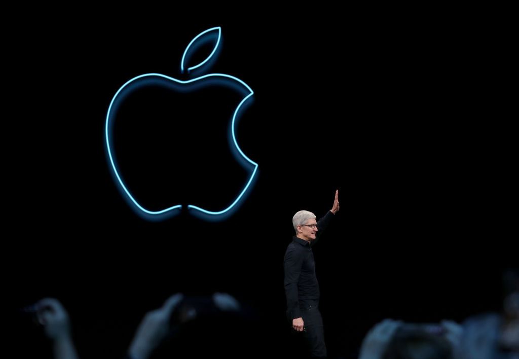 Apple CEO Tim Cook delivers the keynote address during the 2019 Apple Worldwide Developer Conference (WWDC) at the San Jose Convention Center on June 3, 2019 in San Jose, California.