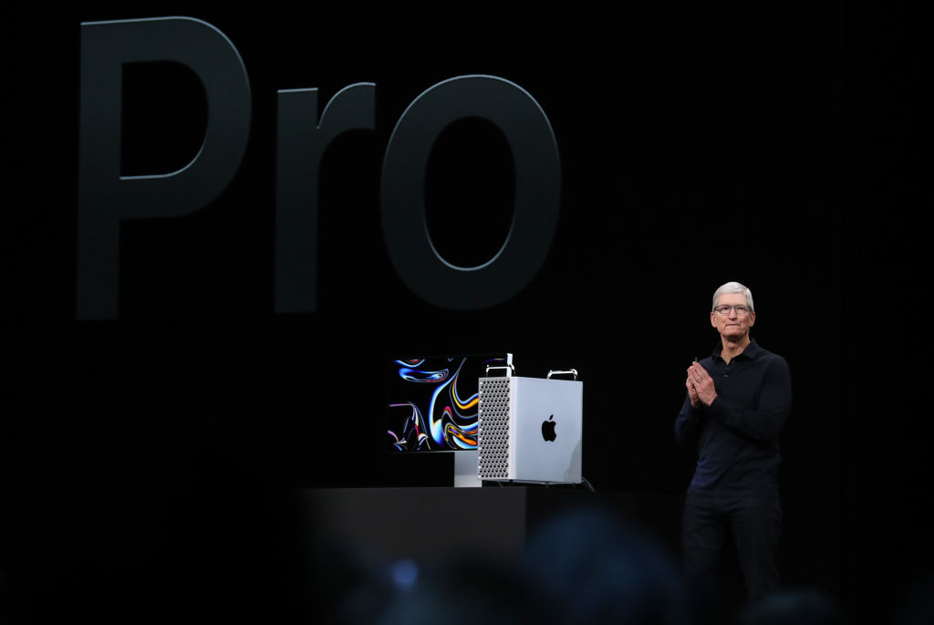 Apple CEO Tim Cook announces the new Mac Pro as he delivers the keynote address during the 2019 Apple Worldwide Developer Conference (WWDC) at the San Jose Convention Center on June 3, 2019 in San Jose, California.