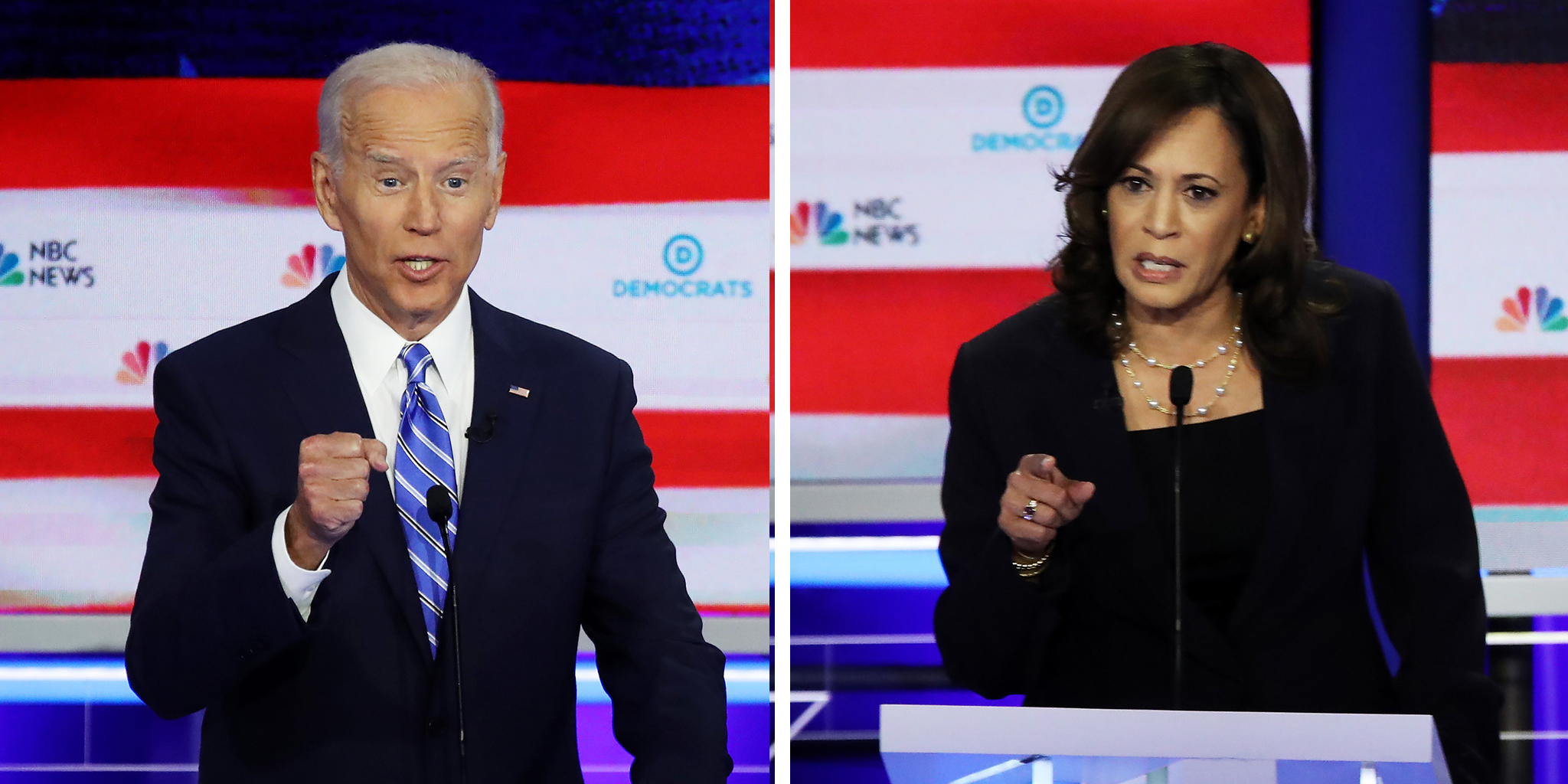 Former Vice President Joe Biden and California Sen. Kamala Harris participate during the second Democratic primary debate of the 2020 presidential campaign season hosted by NBC News at the Adrienne Arsht Center for the Performing Arts in Miami, Florida, June 27, 2019.