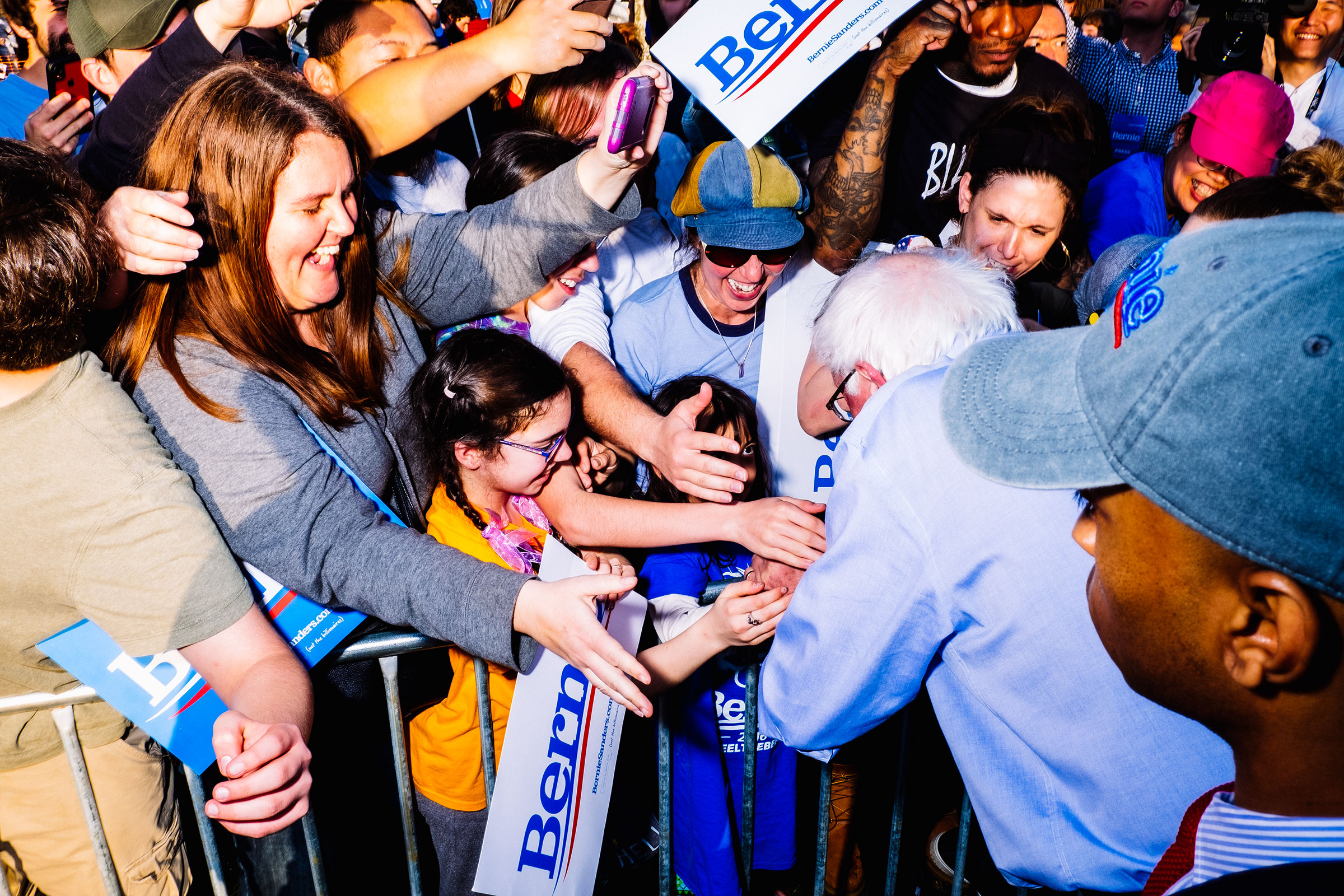 Sanders greets supporters at a rally in Pittsburgh