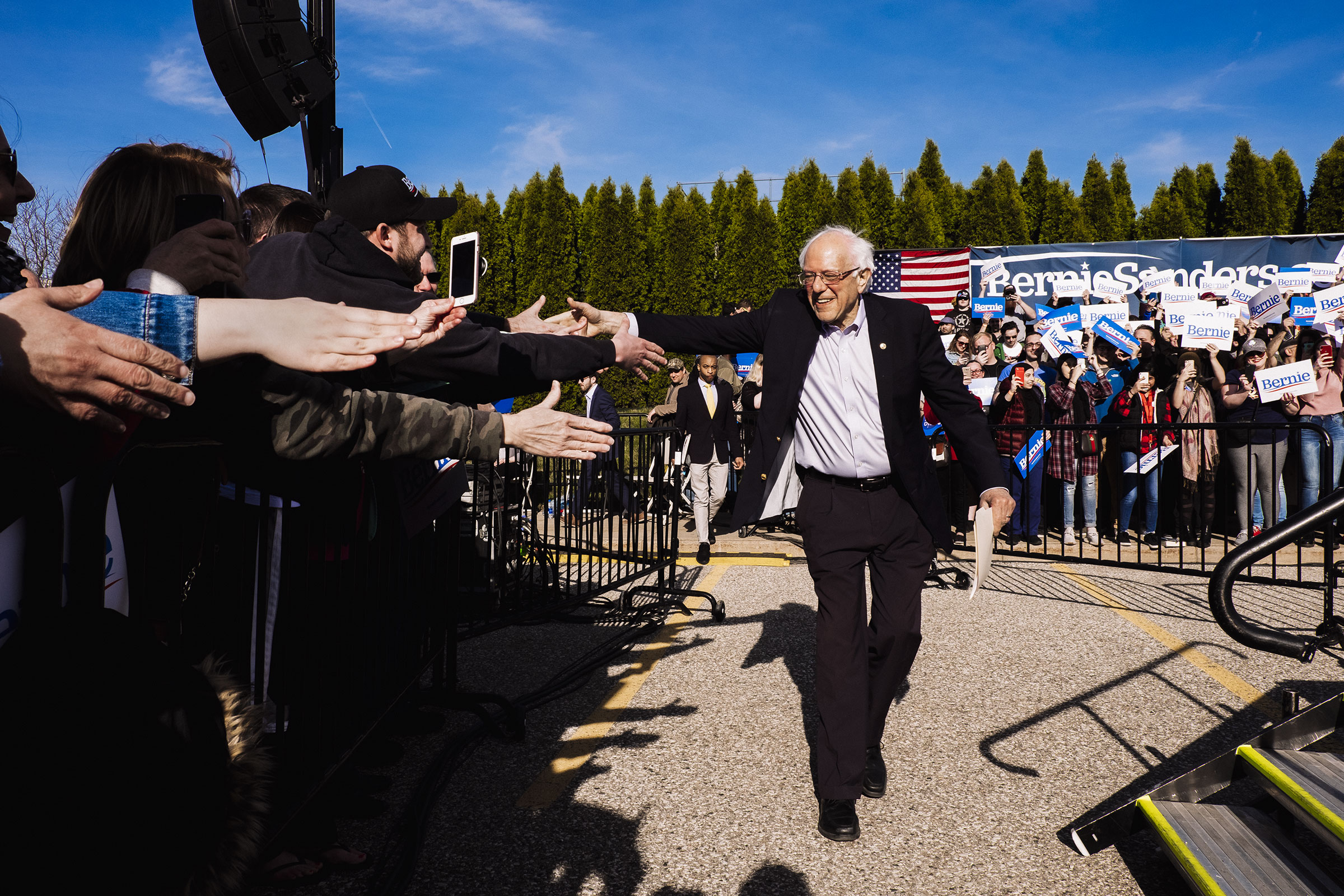Sanders in Warren, Mich., during his spring tour of battle ground states