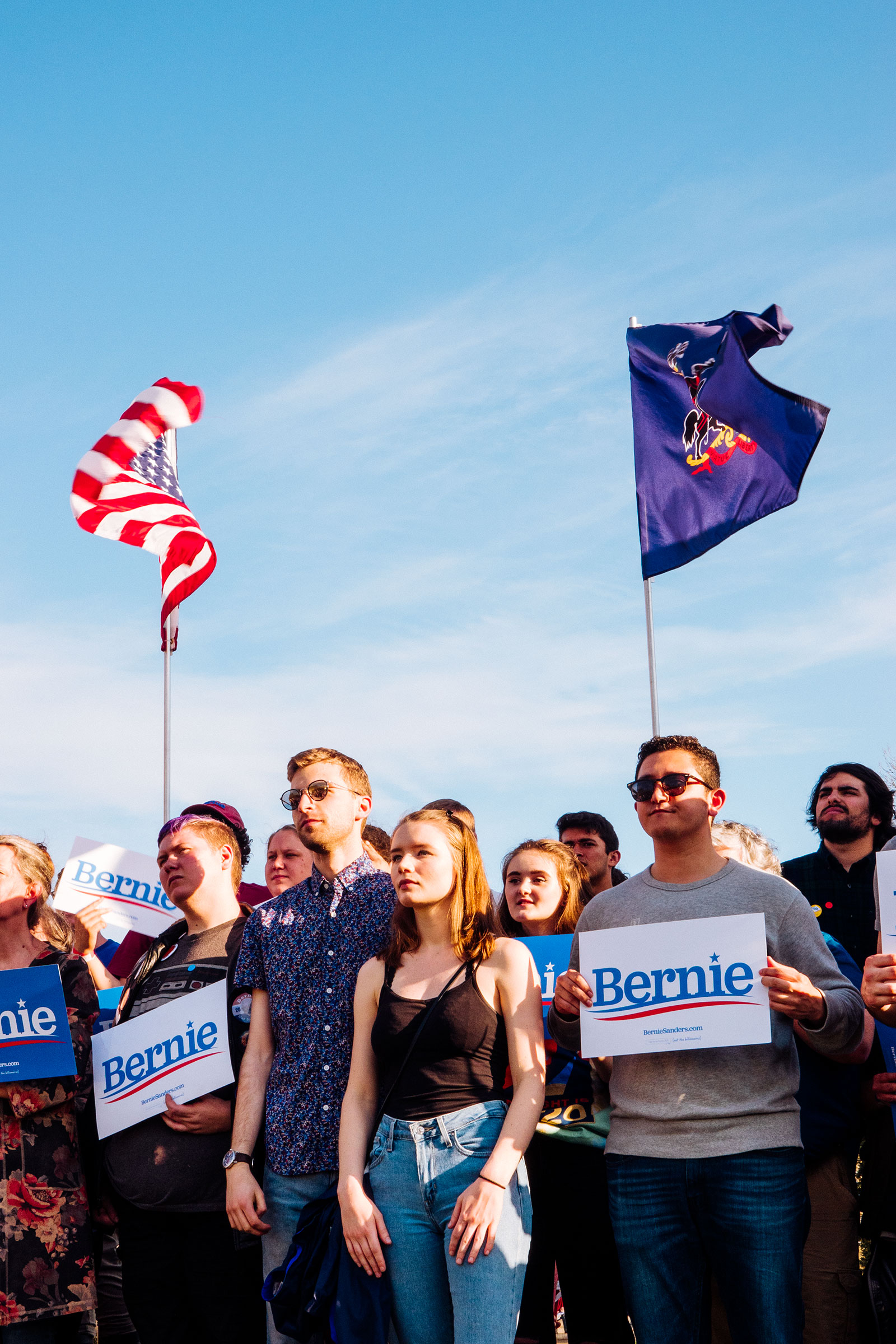 A Sanders rally in Pittsburgh; as in 2016, his following skews young