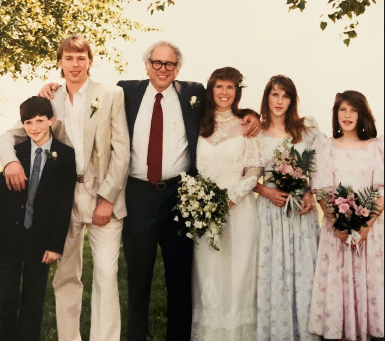 Sanders with Jane and their newly blended family in 1988