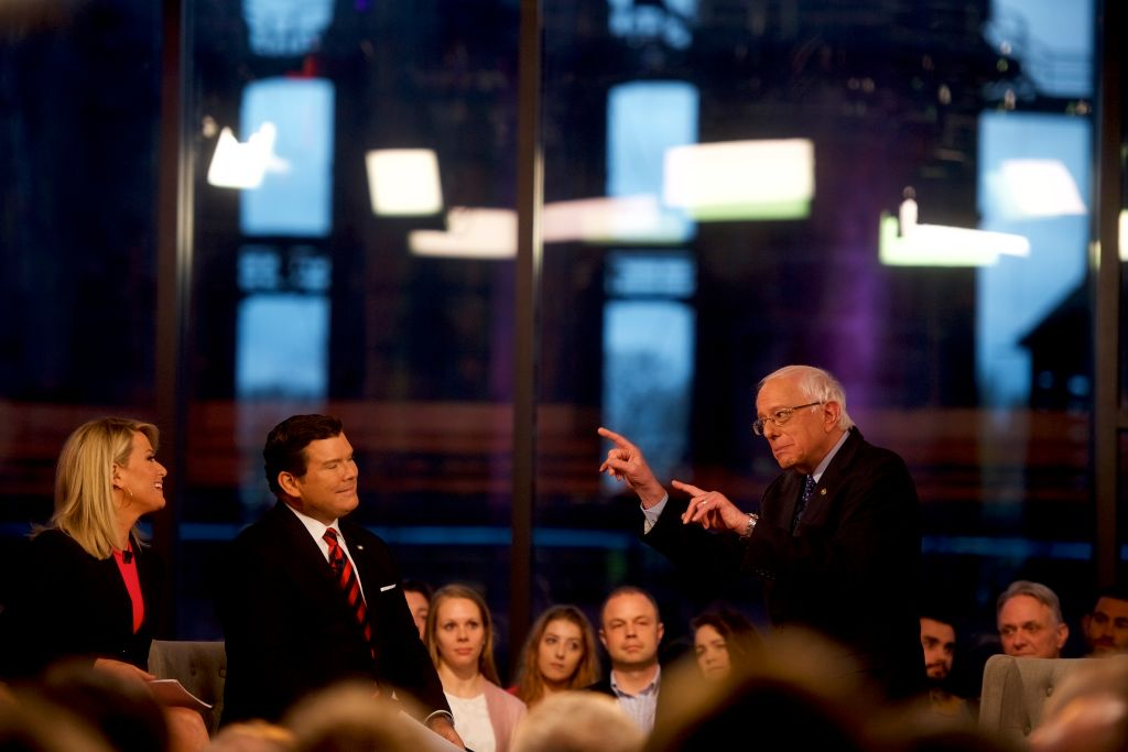 Democratic presidential candidate, U.S. Sen. Bernie Sanders (I-VT) participates in a FOX News Town Hall at SteelStacks on April 15, 2019 in Bethlehem, Pennsylvania. Sanders is running for president in a crowded field of Democrat contenders.