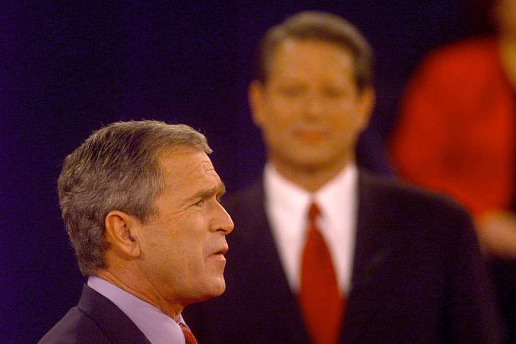 Republican presidential candidate Texas governor George W. Bush speaks during a debate with Democratic candidate Vice President Al Gore