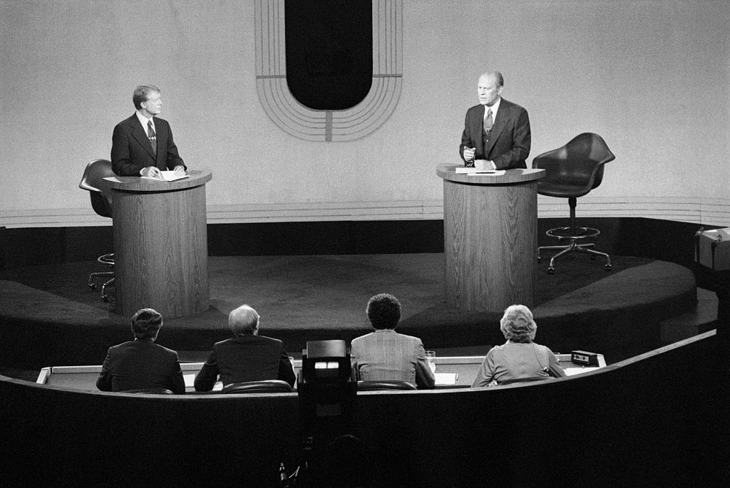 Democratic presidential nominee Jimmy Carter and President Gerald Ford, shown before panel during second debate at San Francisco's Palace of Fine Arts.