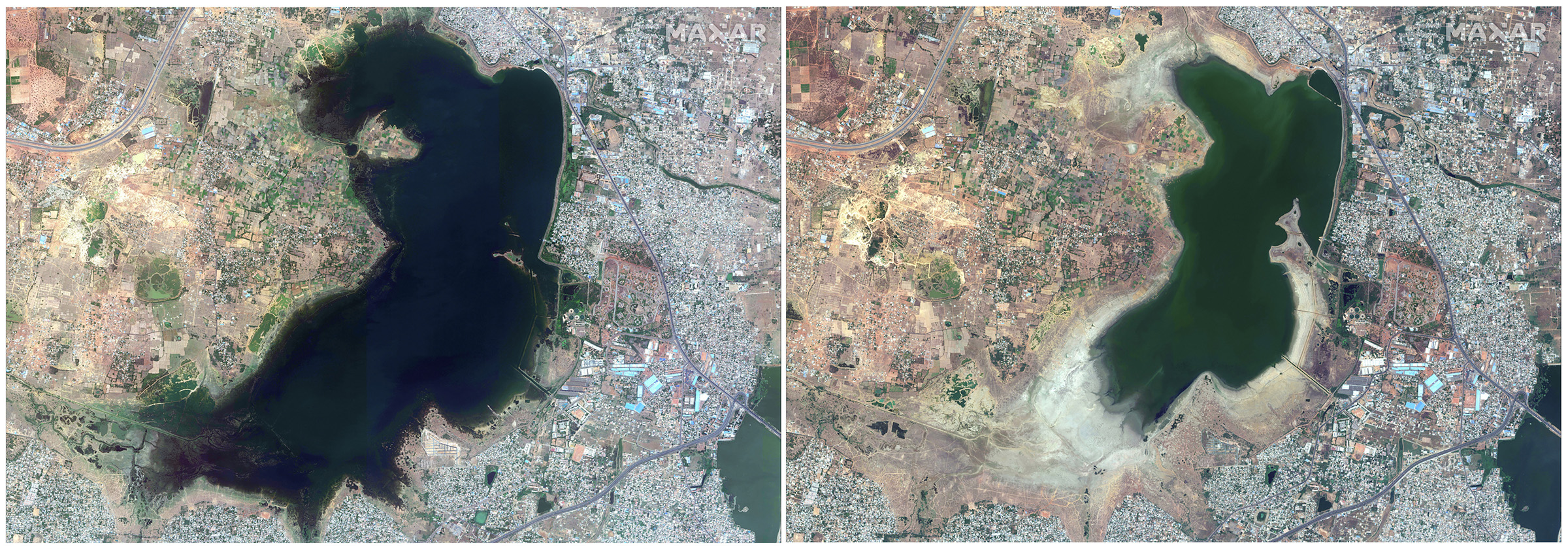 This combo of a June 15, 2018, satellite image (L) and April 6, 2019, satellite image (R) shows Puzhal reservoir in Chennai, India before and during the drought.